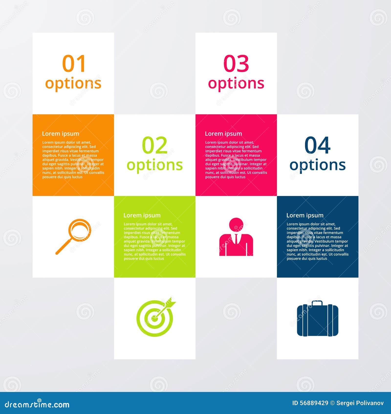 Infographics dell illustrazione di vettore quattro quadrati di opzioni
