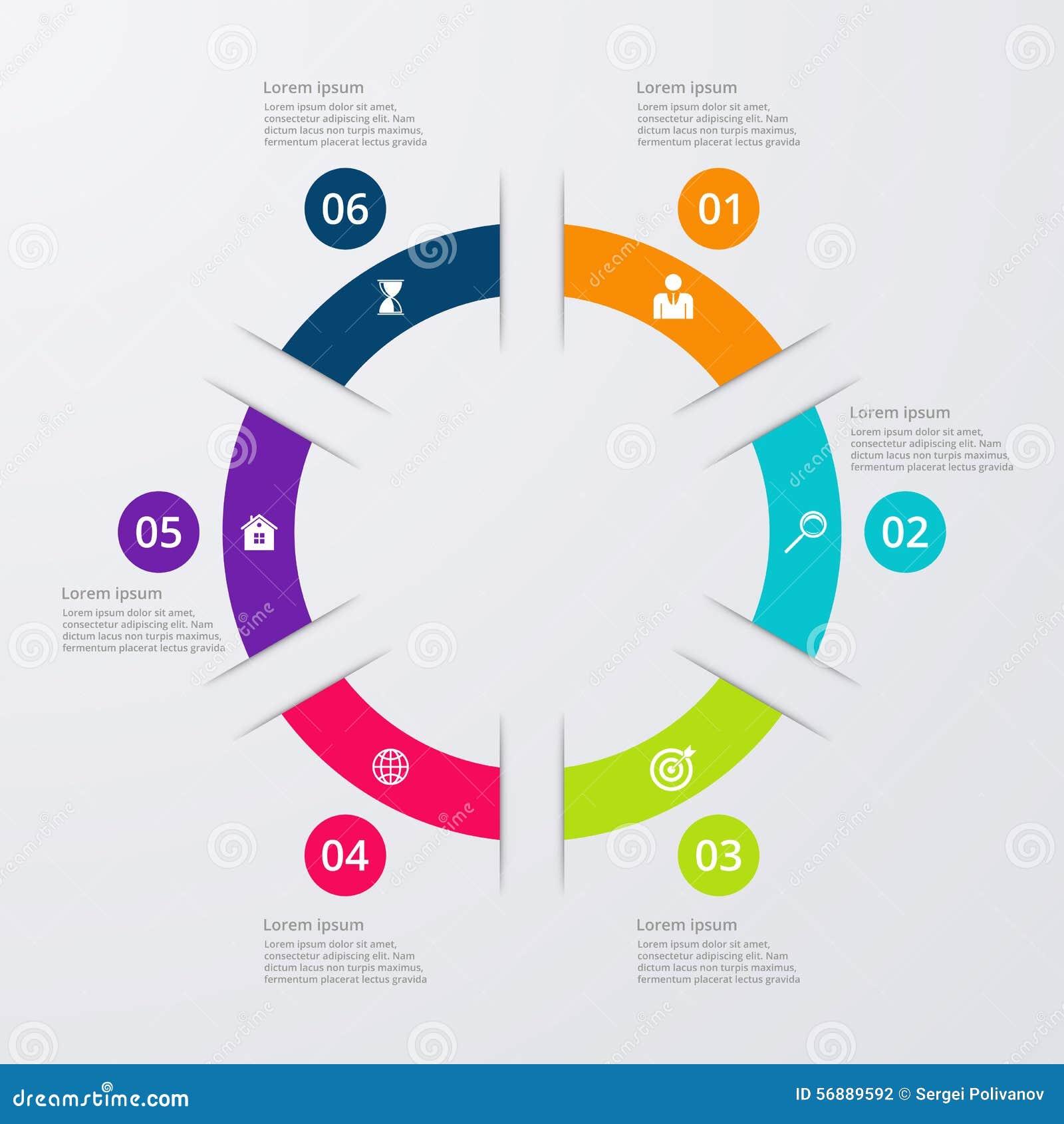 Infographics dell illustrazione di vettore sei opzioni