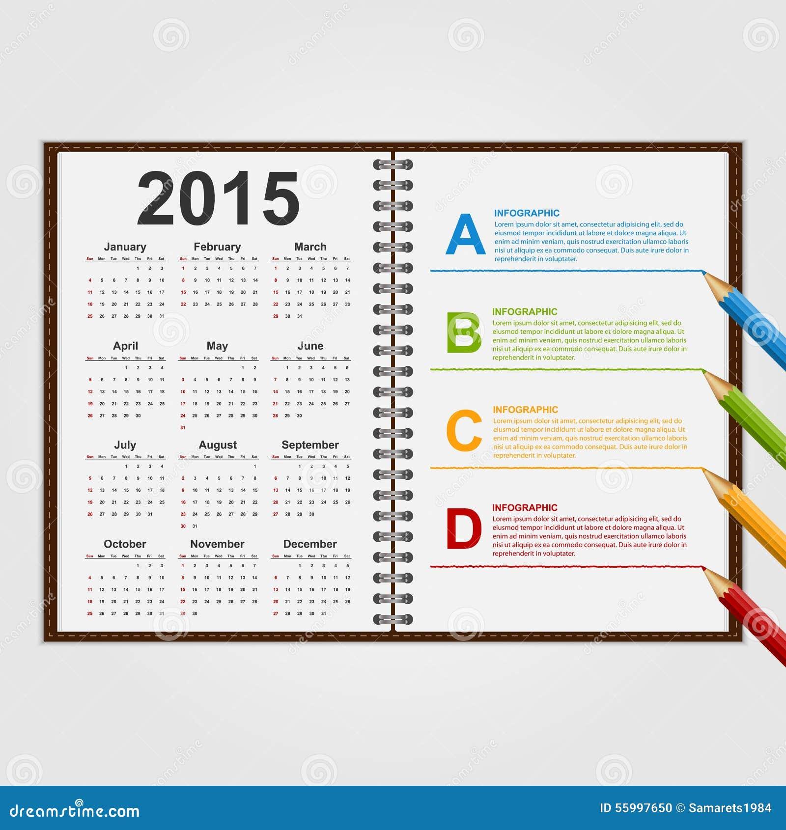 Calendar Notebook Template : Infographics design template open notebook with calendar