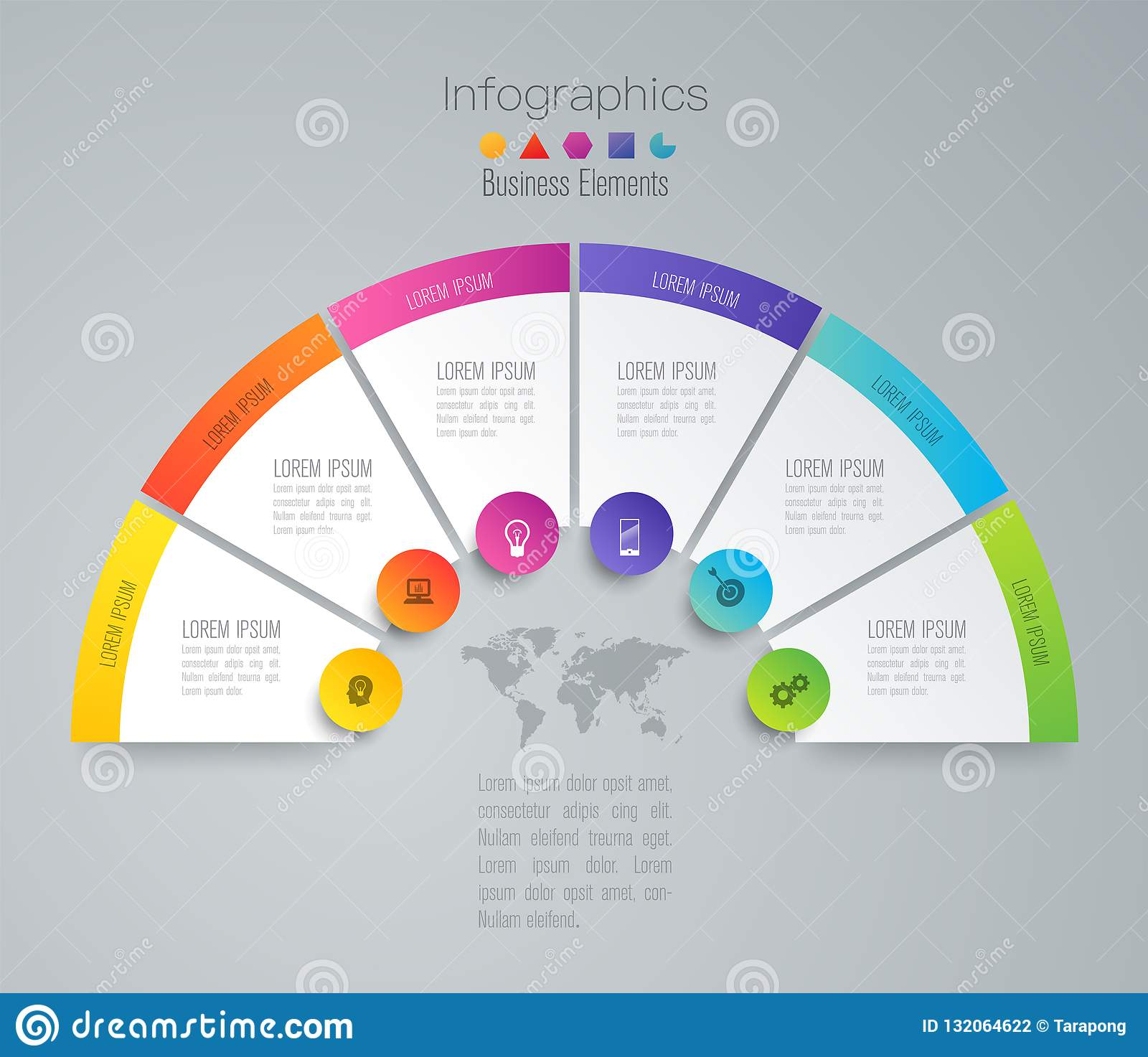 Infographics design vector and business icons with 6 options.