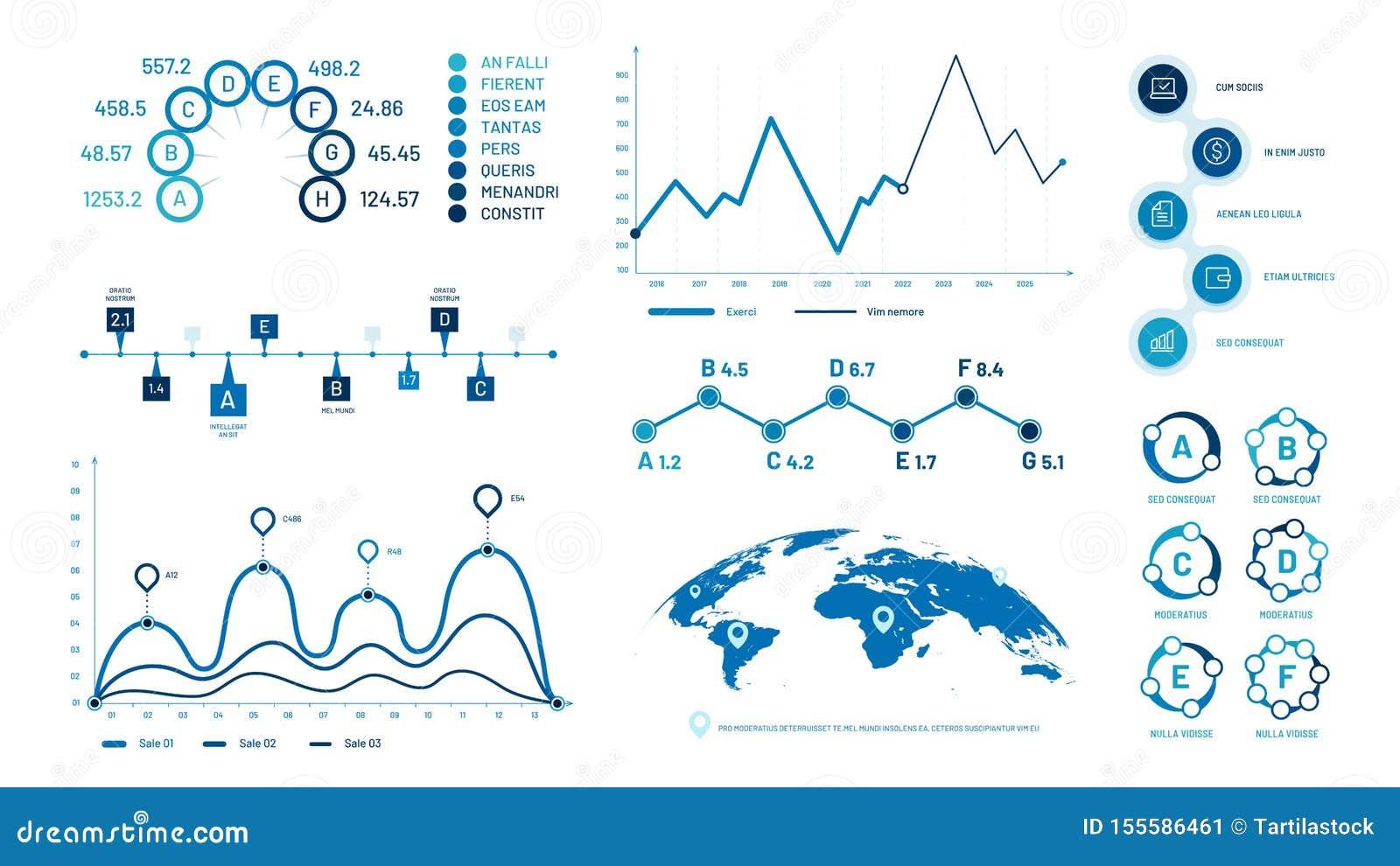 Infographics-Diagrammdiagramme Histogrammdatendiagramme, grafisches Zeitachsediagramm der Blasen und Diagrammvektorillustrationss