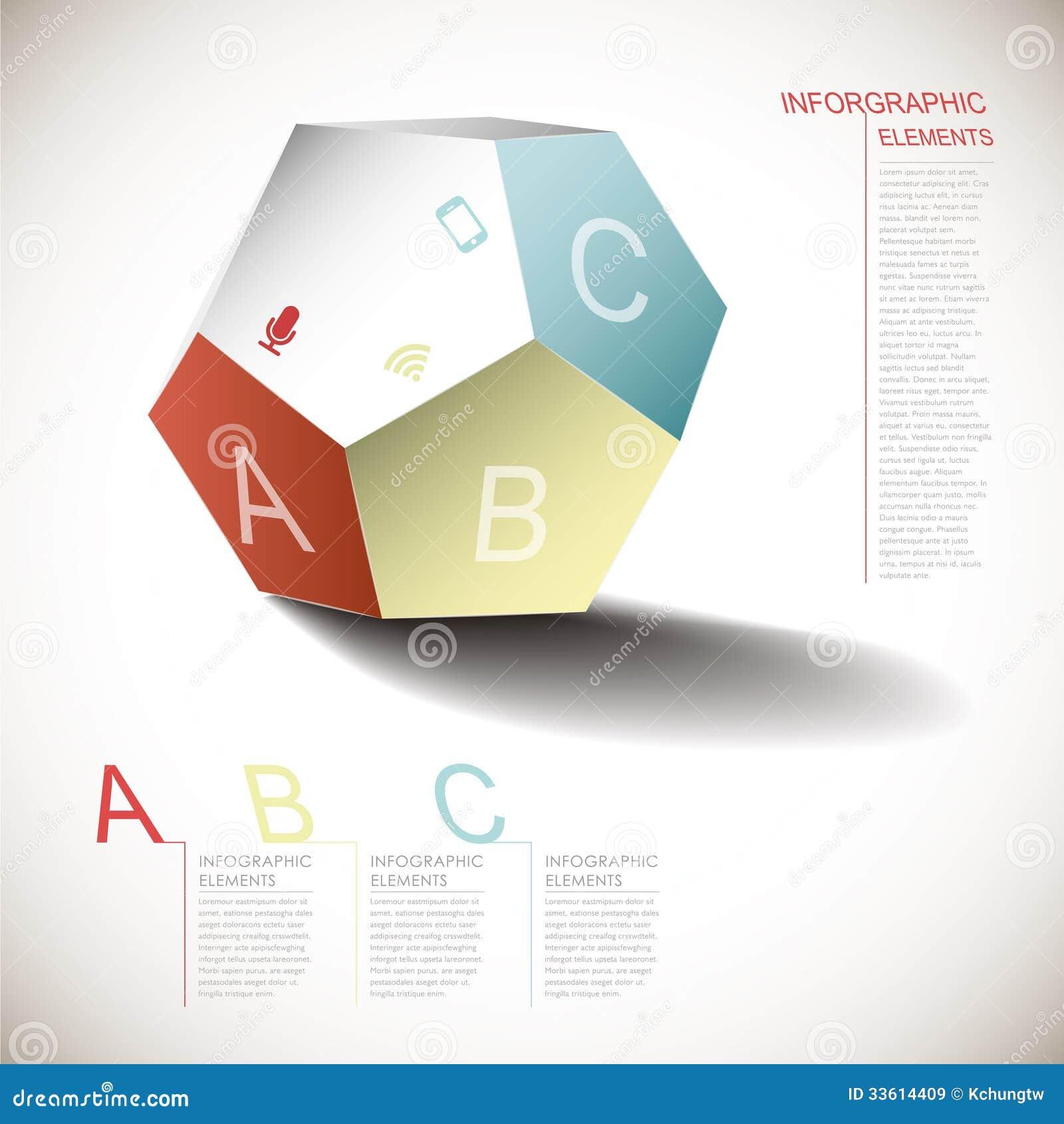 Infographics dimensional abstrato do pentagon do vetor