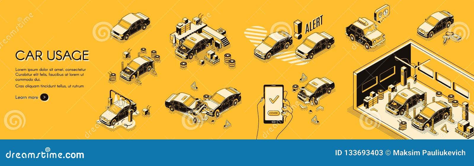 Infographics do custo do uso do carro e do vetor dos riscos