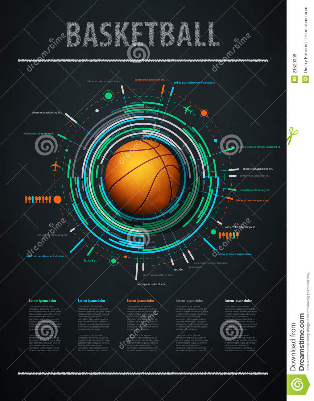 Infographics Element With Sports Basketball Royalty Free