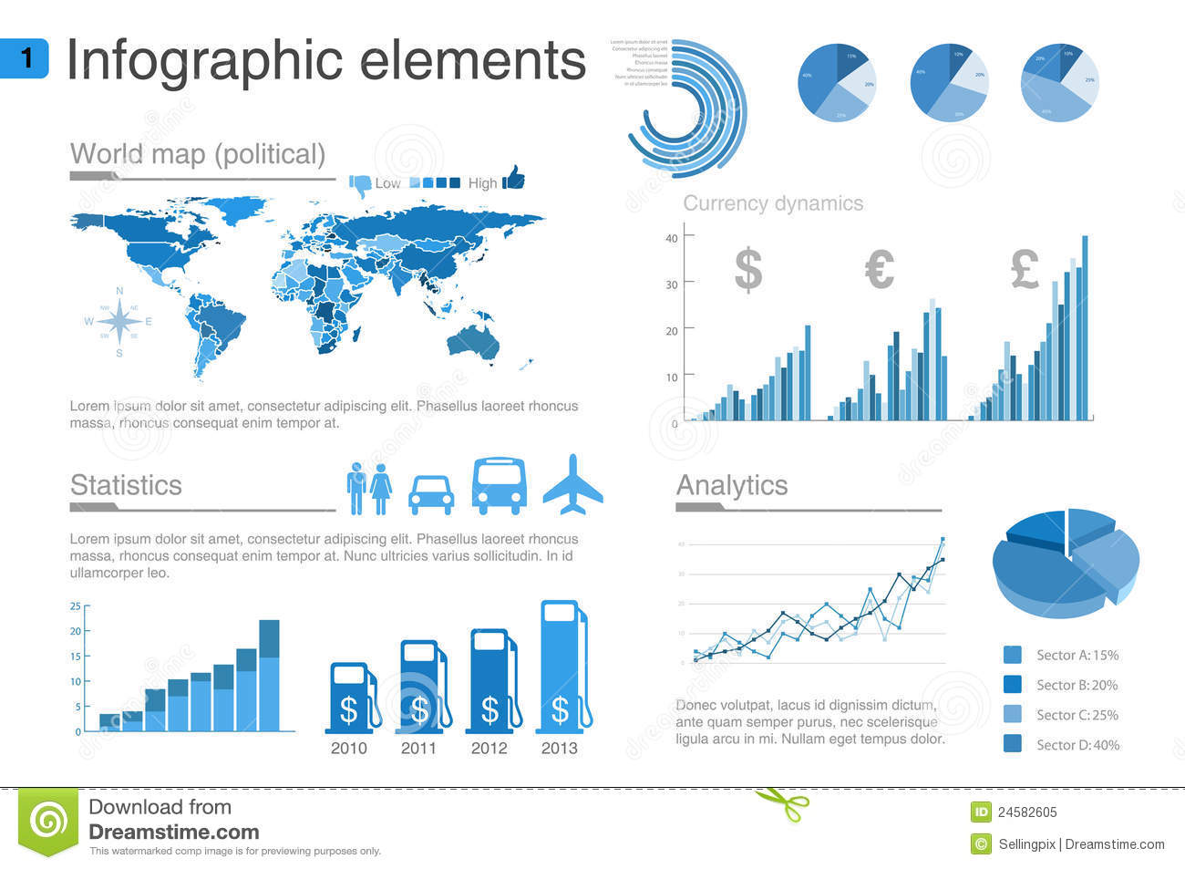 Infographics Elements With Icons Part 2 Royalty Free Stock ...