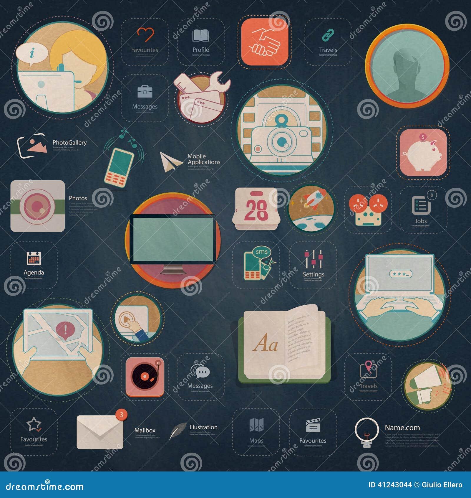Infographics elementy: Kolekcja kolorowi płascy zestawu UI nawigaci elementy z ikonami dla osobistej portfolio strony internetowe
