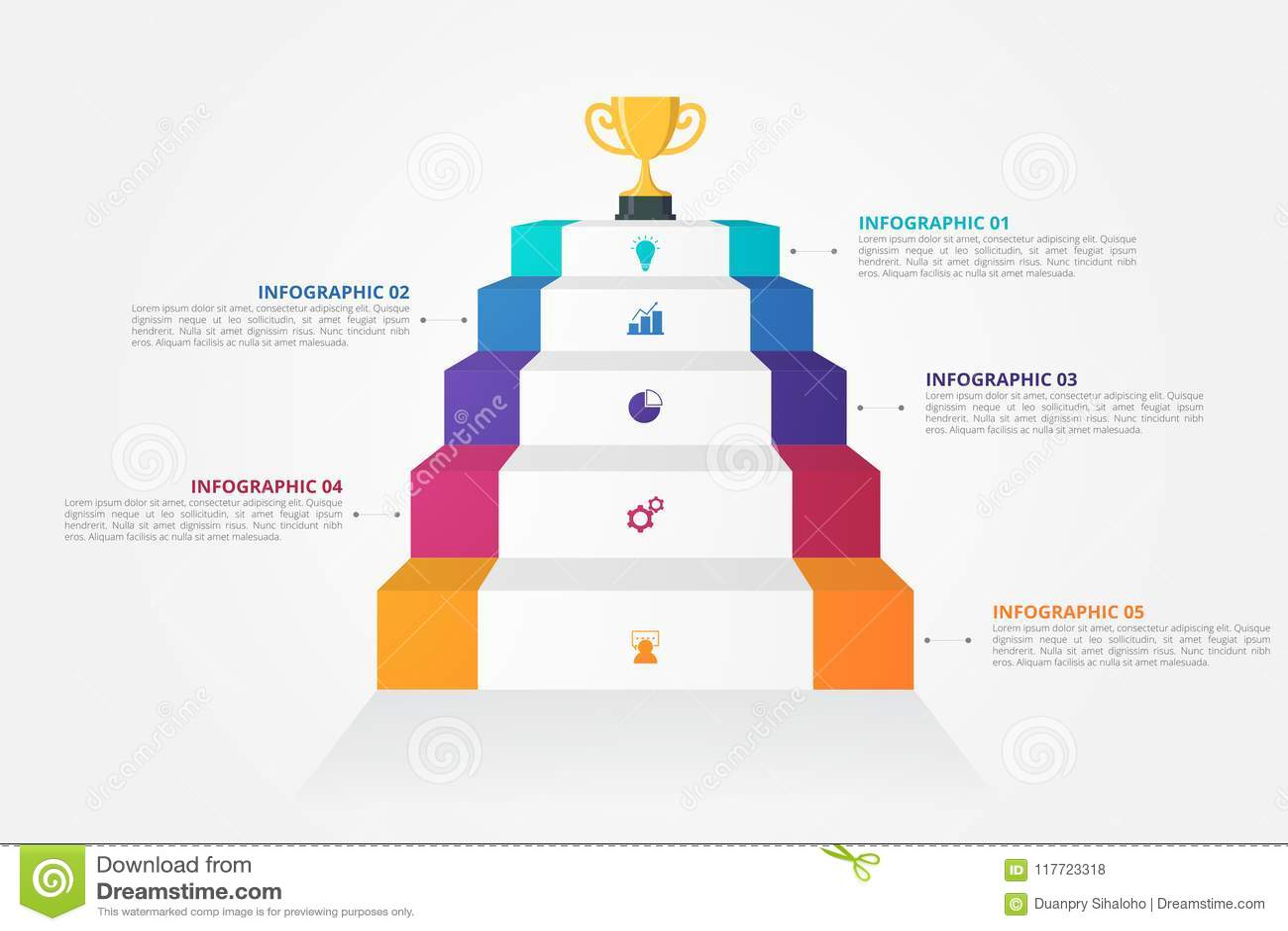 Infographics för trappa 3D mall för affären, utbildning, rengöringsdukdesign, baner, broschyrer, reklamblad