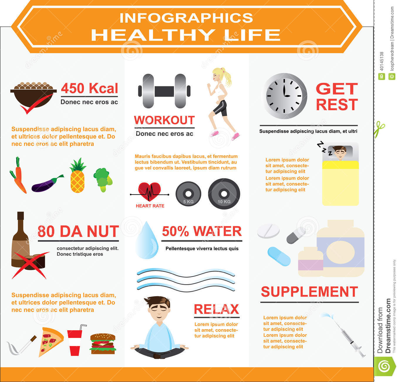 Infographics Of Healthy Life Stock Vector Image 40145138