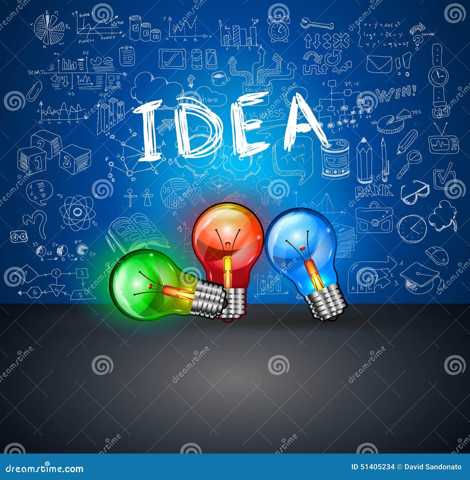 Infographics-Ideen-Lampe Mit Geschäft Kritzelt Skizzenhintergrund ...