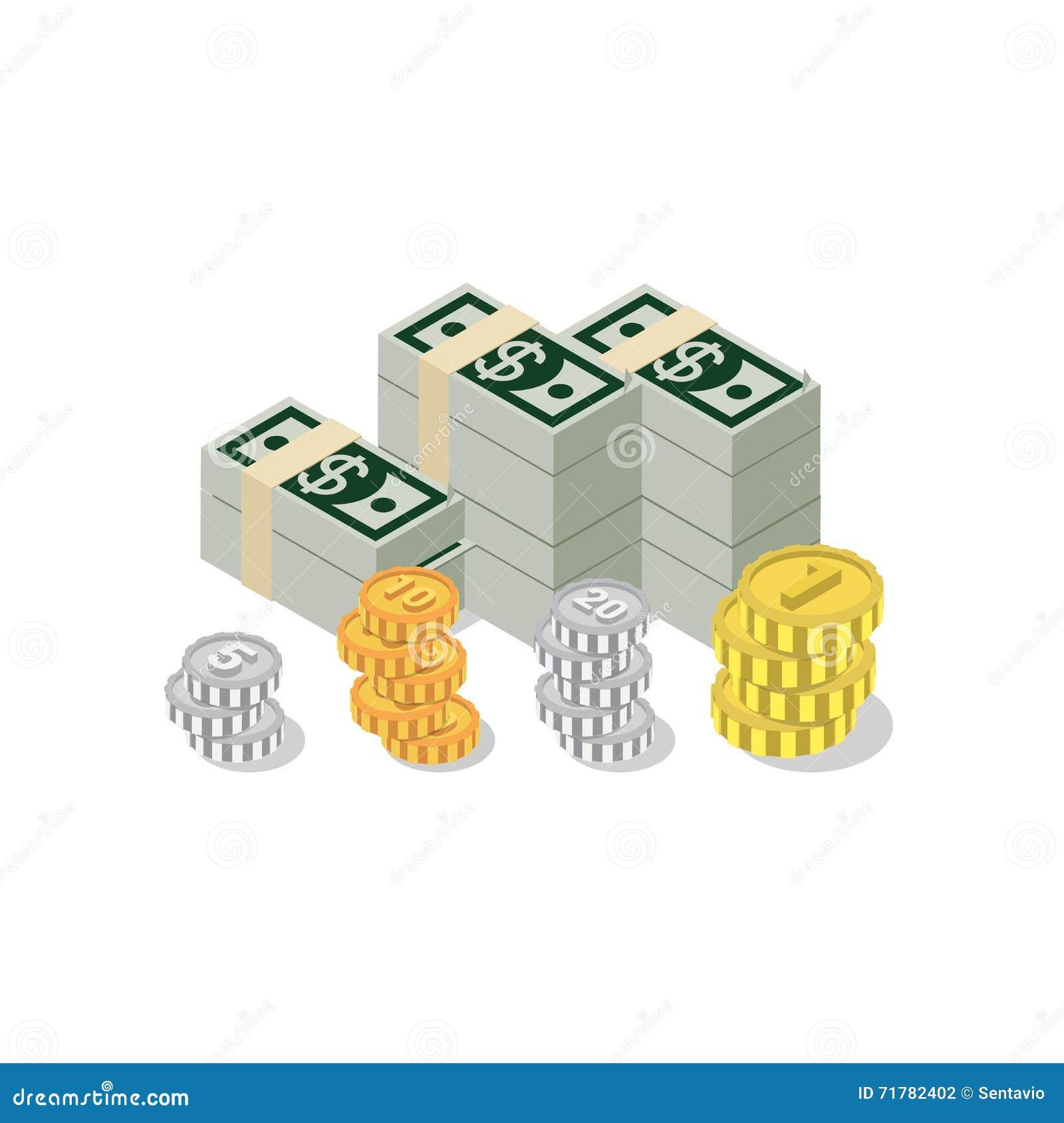 Infographics isometrico piano di web della moneta della banconota del mucchio del dollaro 3d
