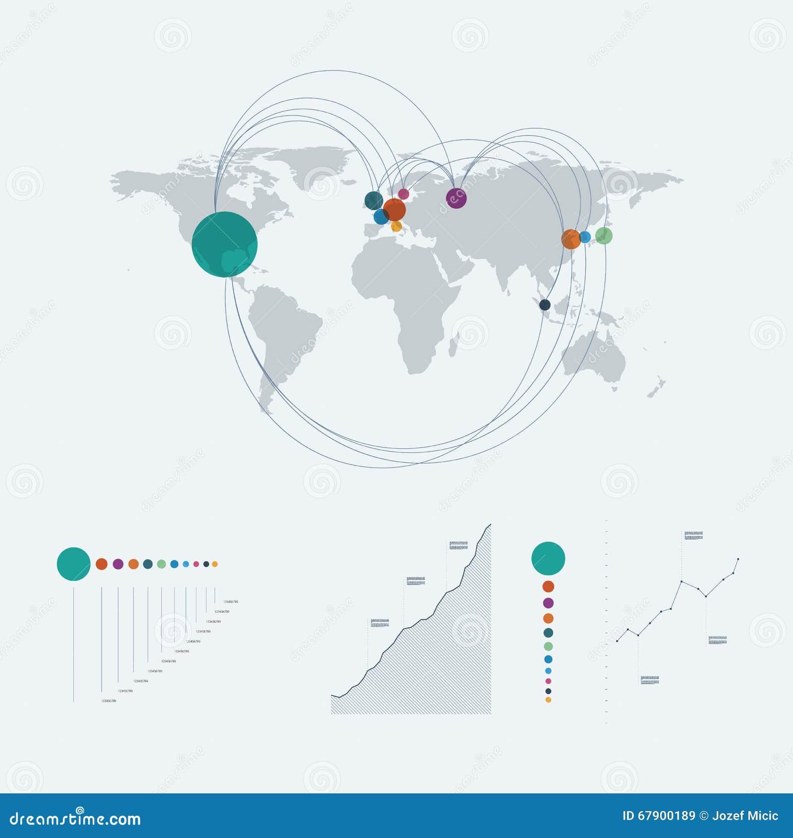 Infographics mall med världskartan och linjen konstgrafer, diagram Orientering för datarapportpresentation