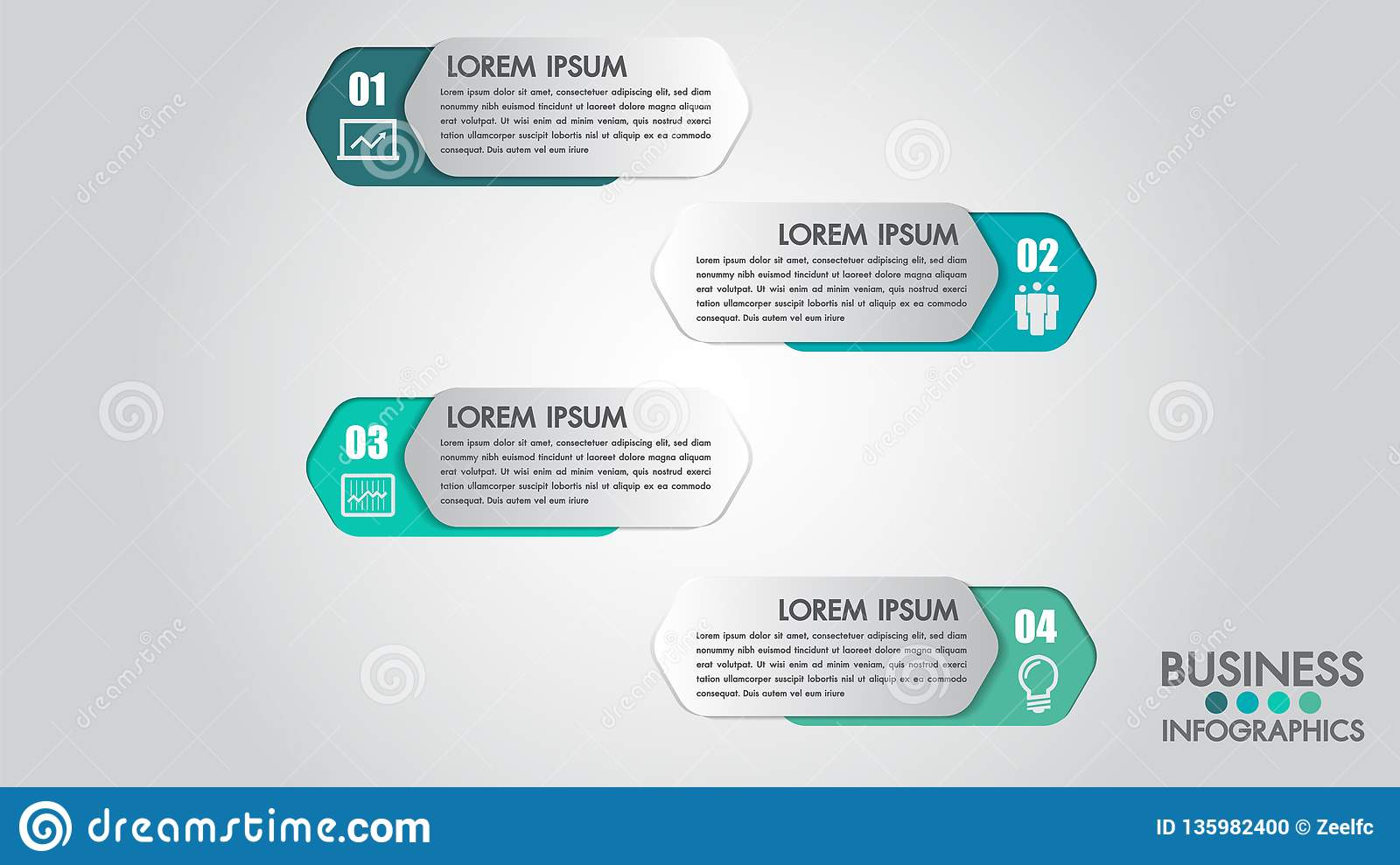 Infographics modern template for business with 4 steps, icons for 4 options.Can be used for workflow layout, diagram, website, cor