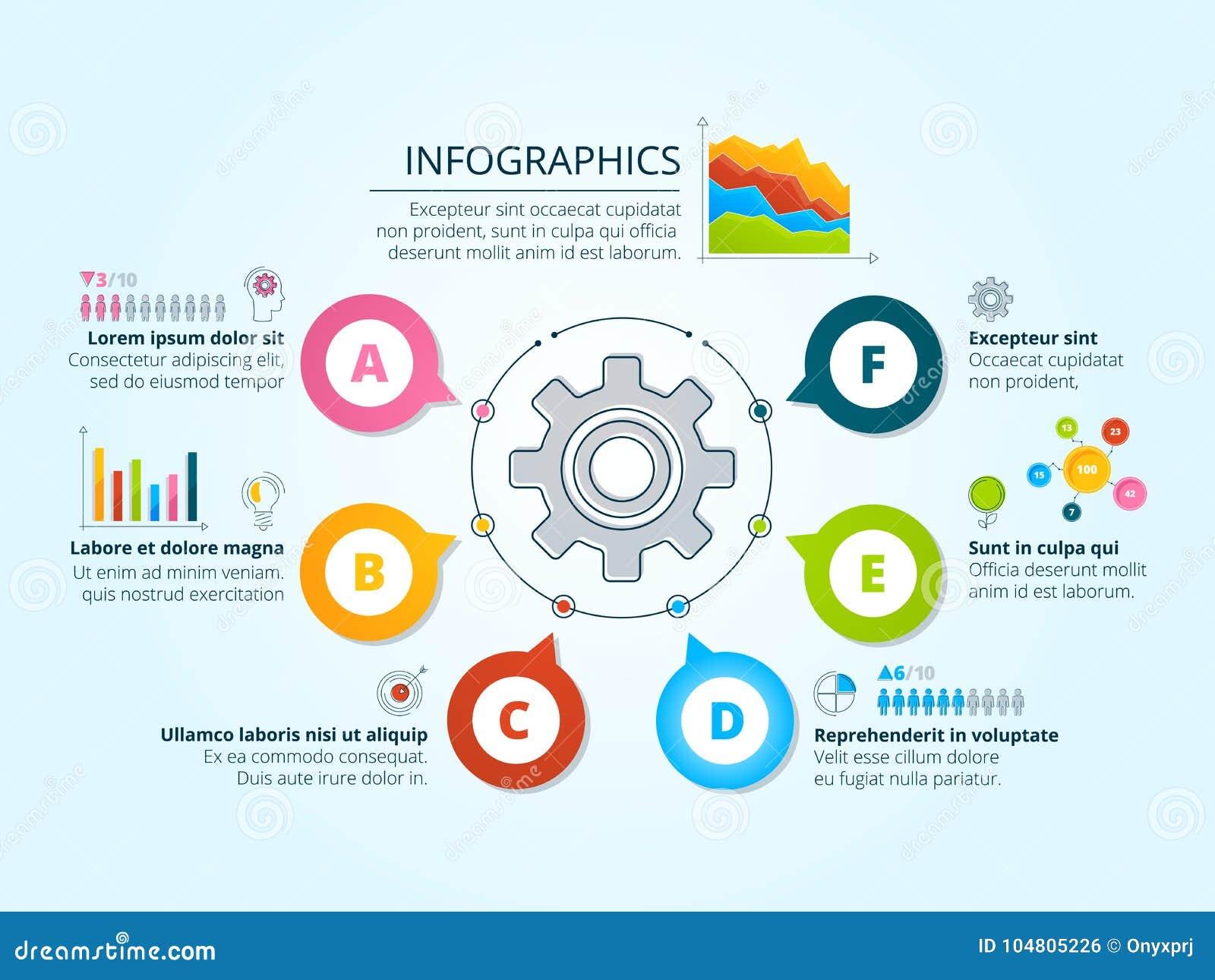 Infographics Moderno Del Negocio Con Formas Radiales Plantilla Con ...