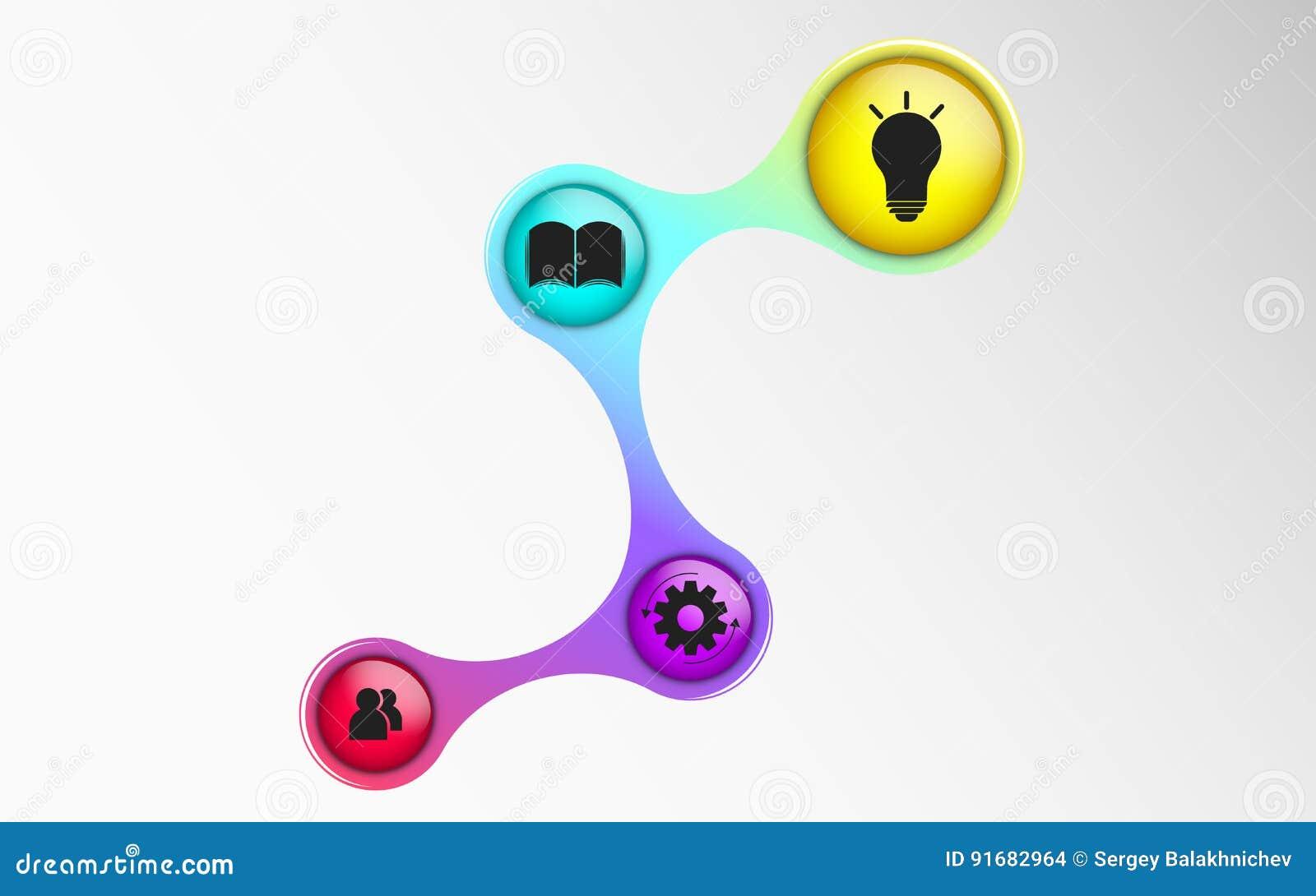 Infographics para projetos do negócio O diagrama no estilo 3d Cores iridescentes Bolas volumétricos, lustrosas com símbolos St do