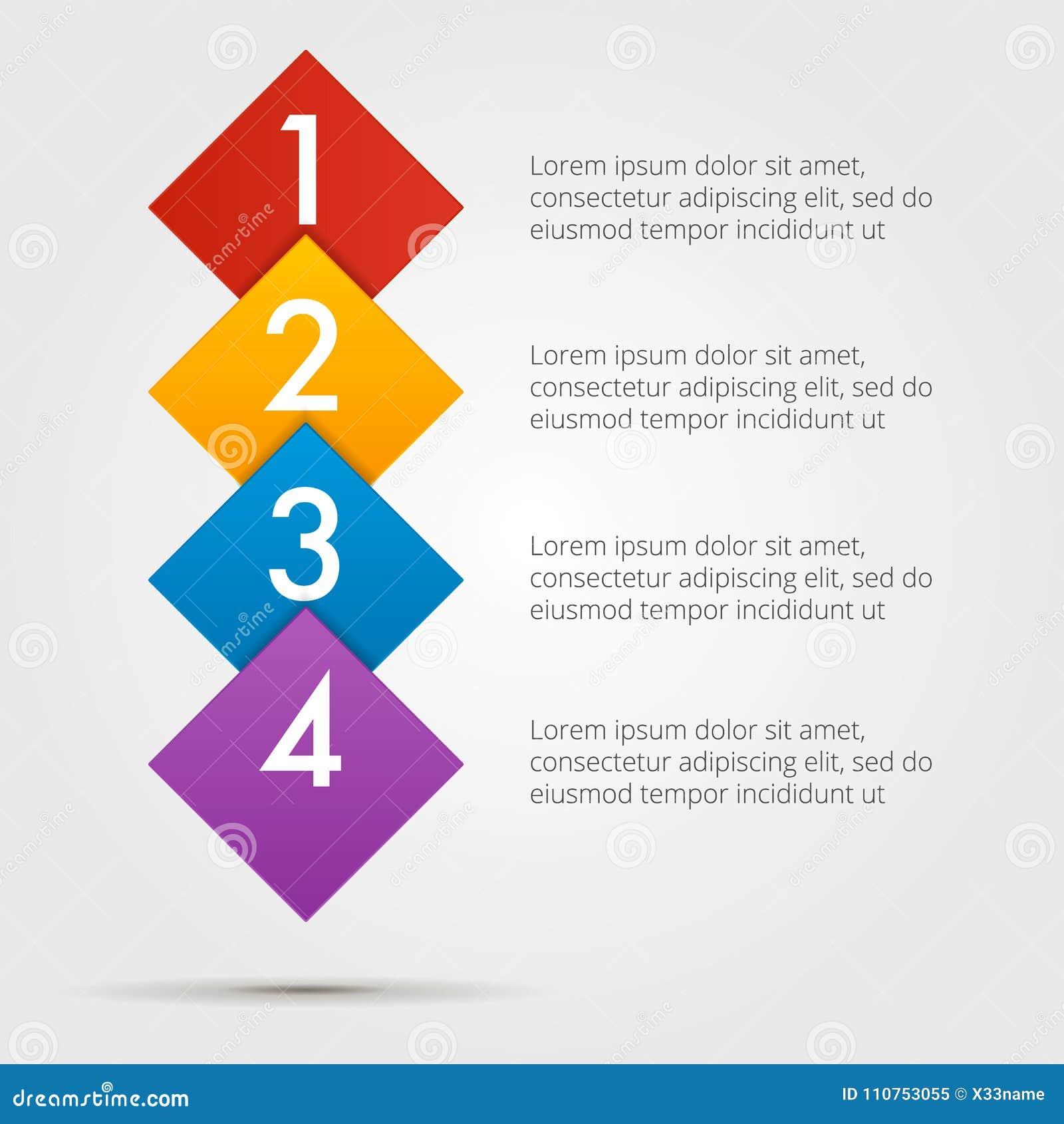 Infographics per gradi in una serie dei quadrati, composizione verticale Elemento del grafico, grafico, diagramma con 4 opzioni