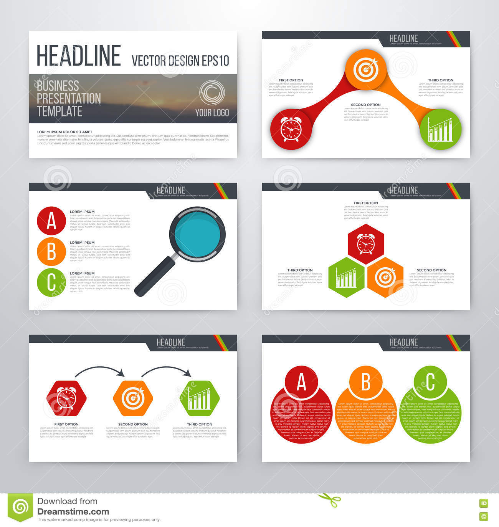 infographics presentation template flat design stock vector, Presentation templates
