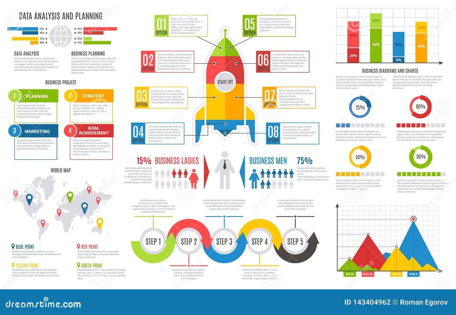 Infographics report. Financial charts diagrams bar chart graph business user interface design vector presentation
