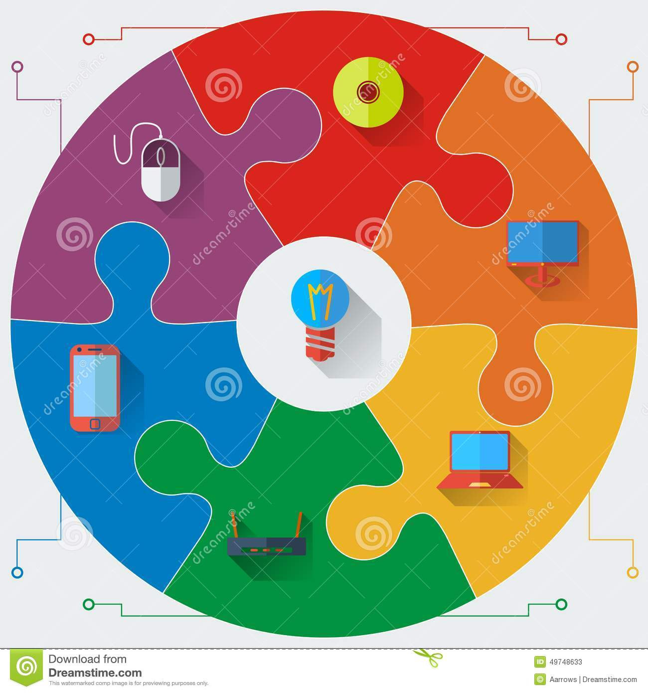 infographics report templates in a circular puzzle stock