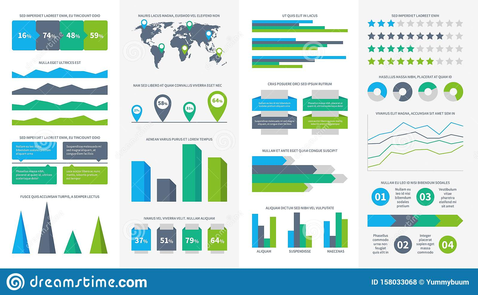 Infographics set. Charts, diagrams and graphs. Flowchart, data bars and timeline for report presentation vector