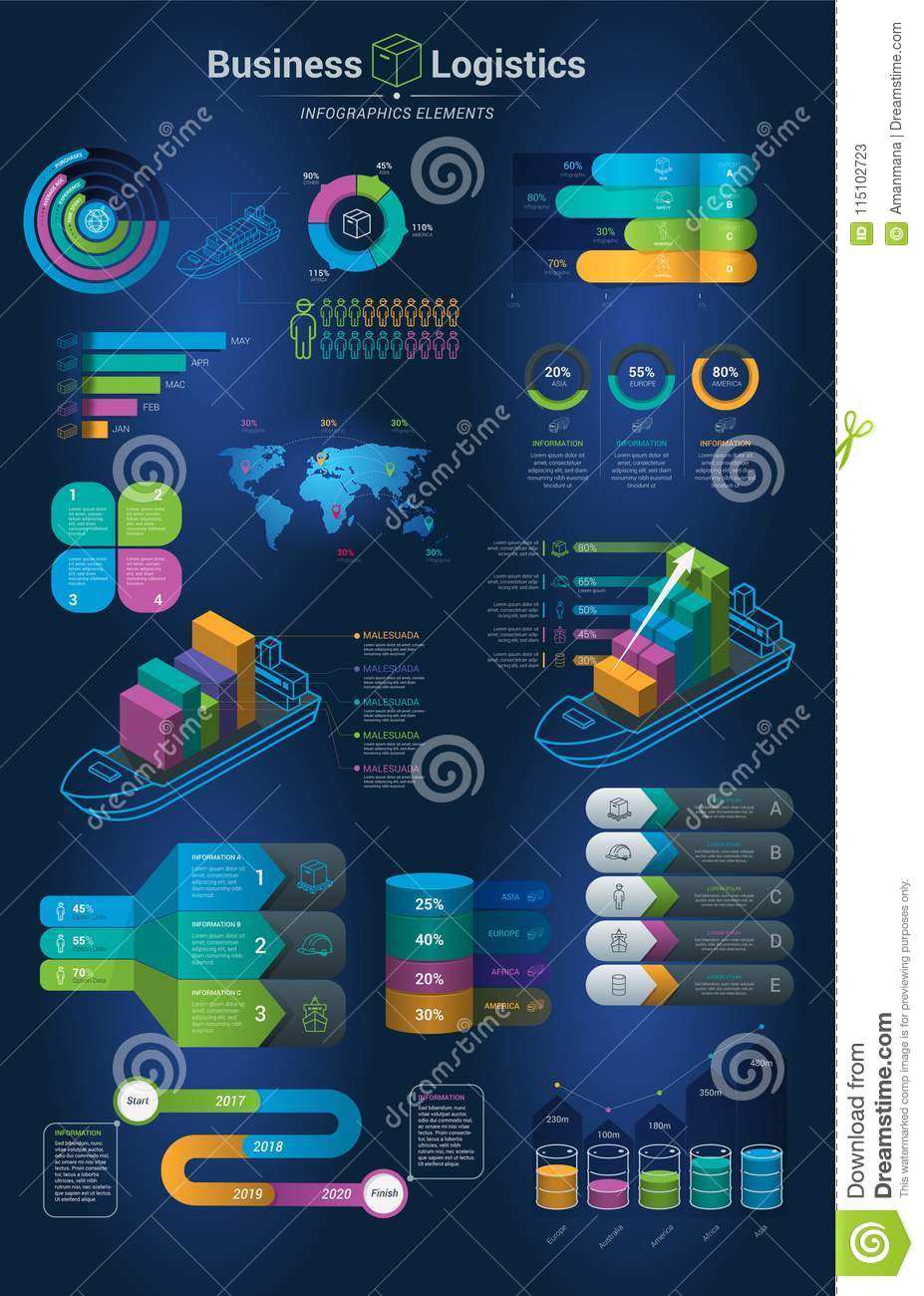 Infographics set with options. Infographic, Chart and Icon. Business and Logistics Concept with dark background.