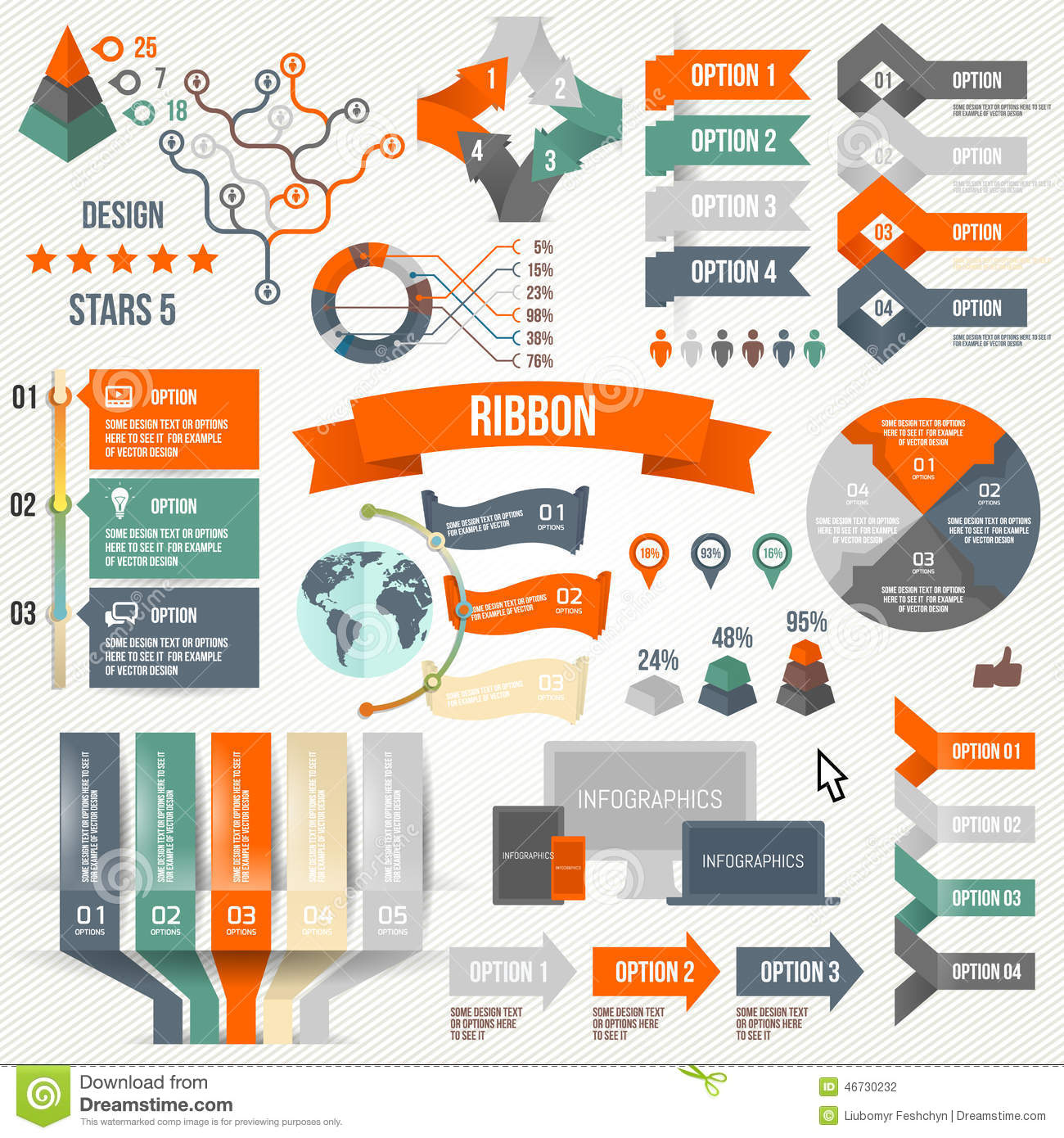 Infographics Set With Options. Infographic, Ribbon, Logo ...