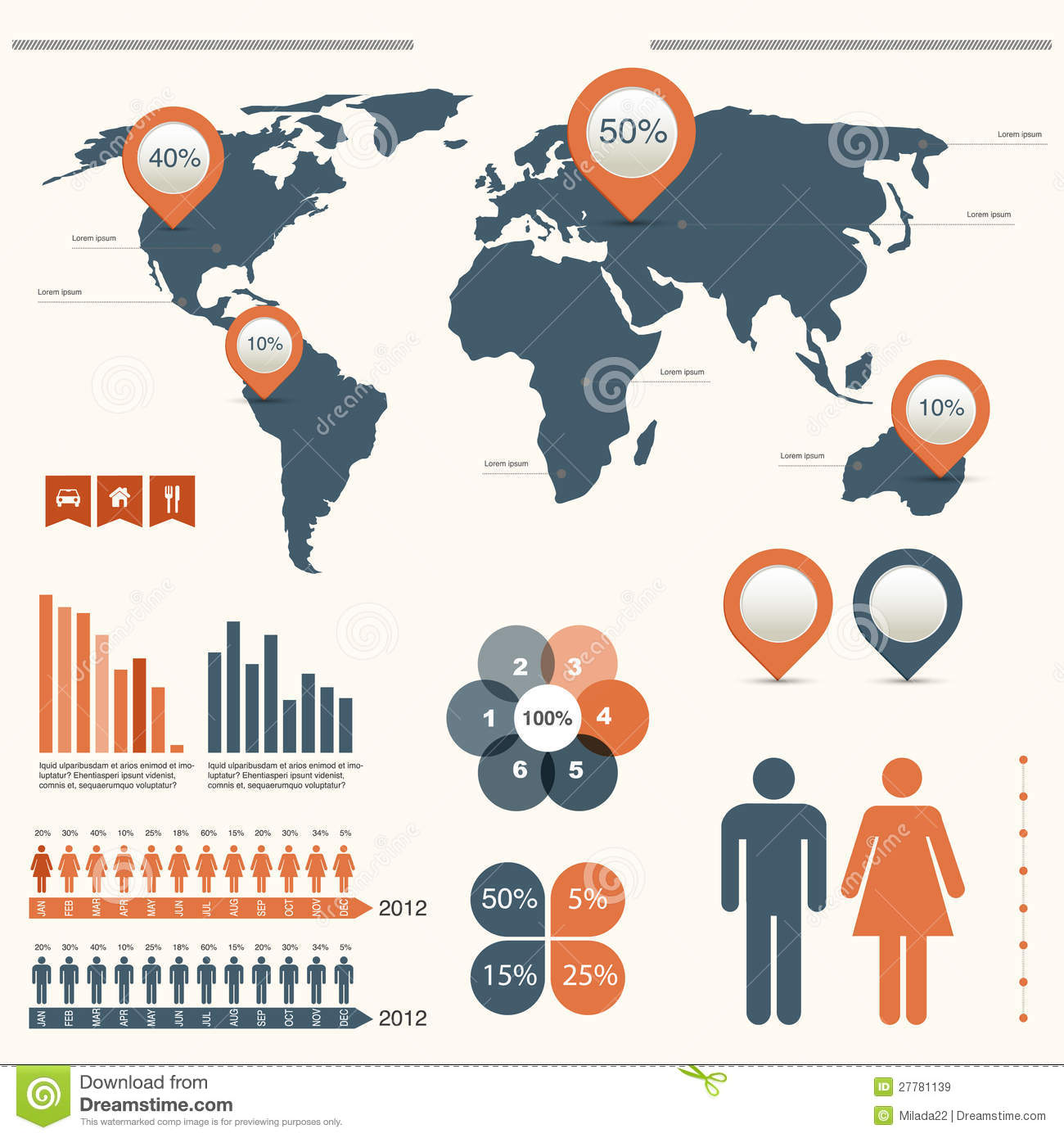 Infographics set with world map stock vector illustration of infographics set with world map gumiabroncs Gallery
