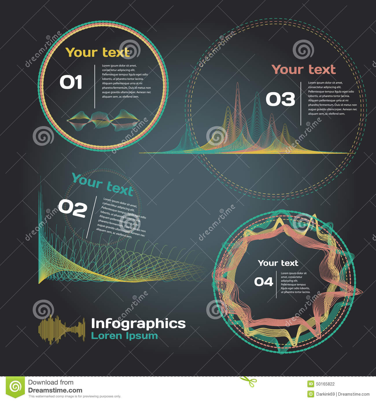 infographics with sound waves on a dark background stock diagram for waves