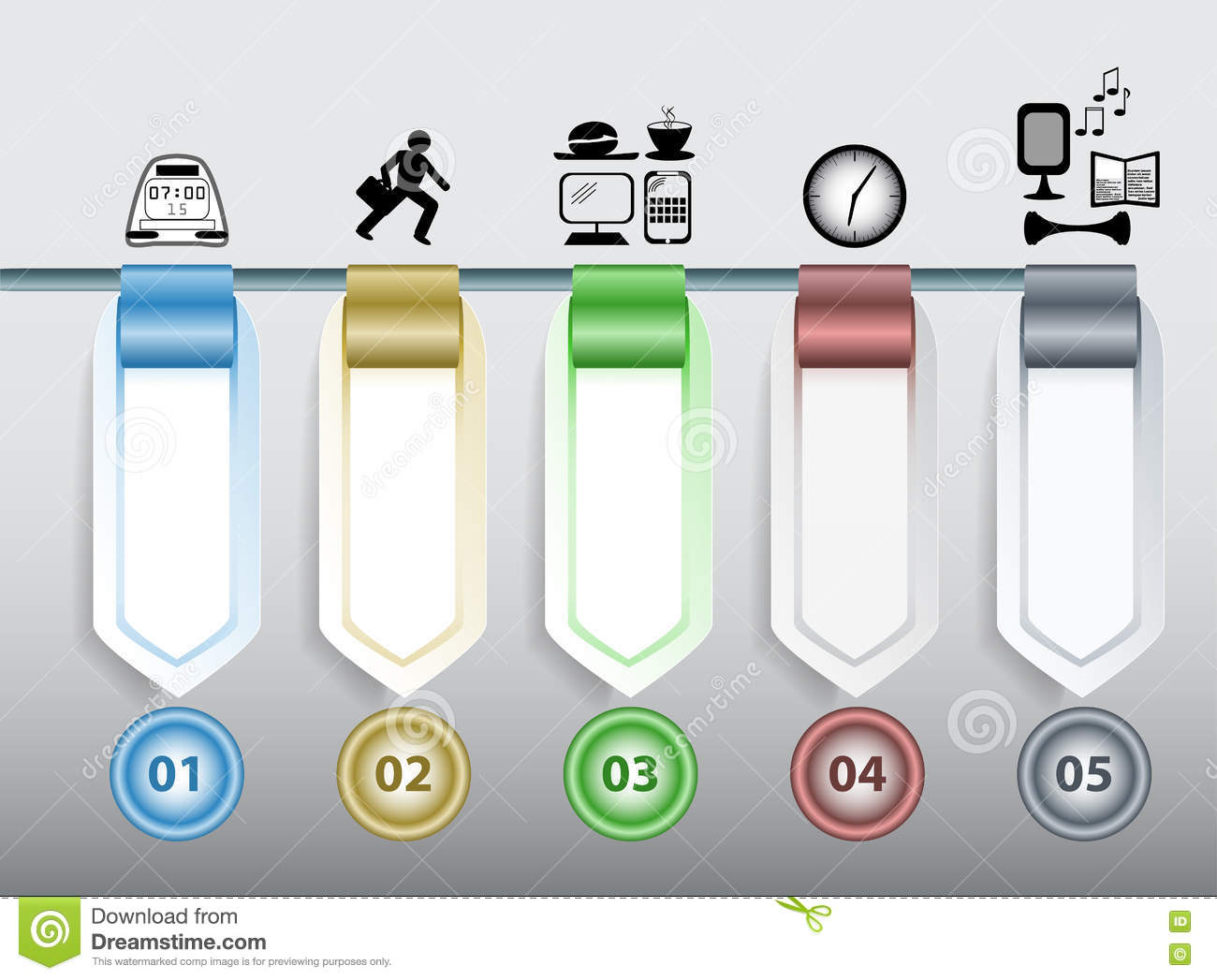 Infographics Step By Step Template With Icons, Arrows, Blank Banners