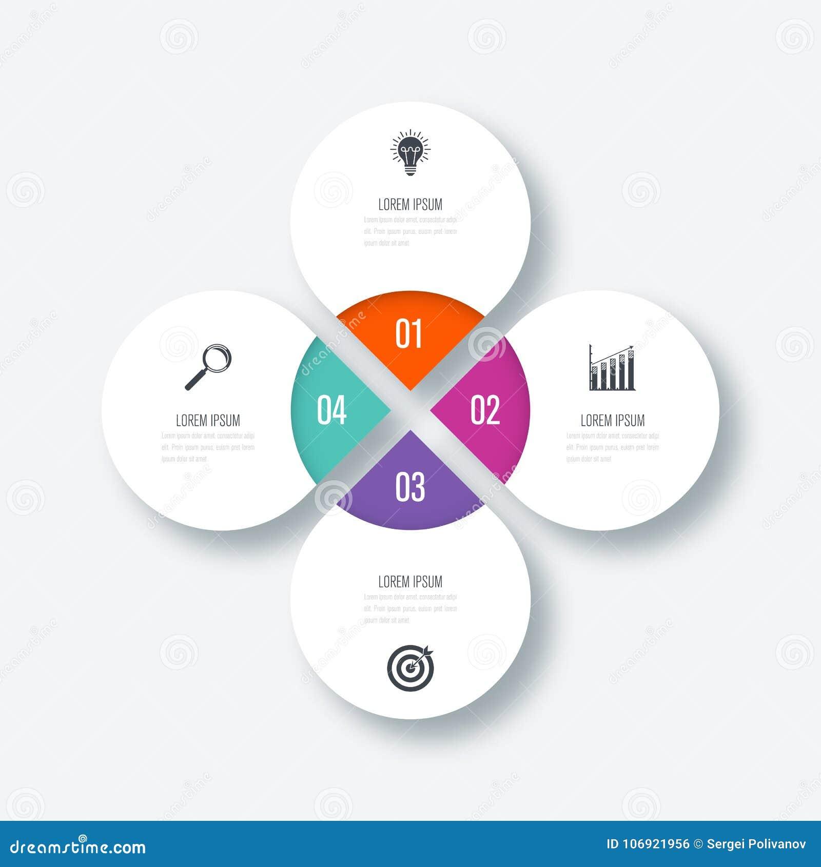 Infographics szablonu 4 opcje z okręgiem