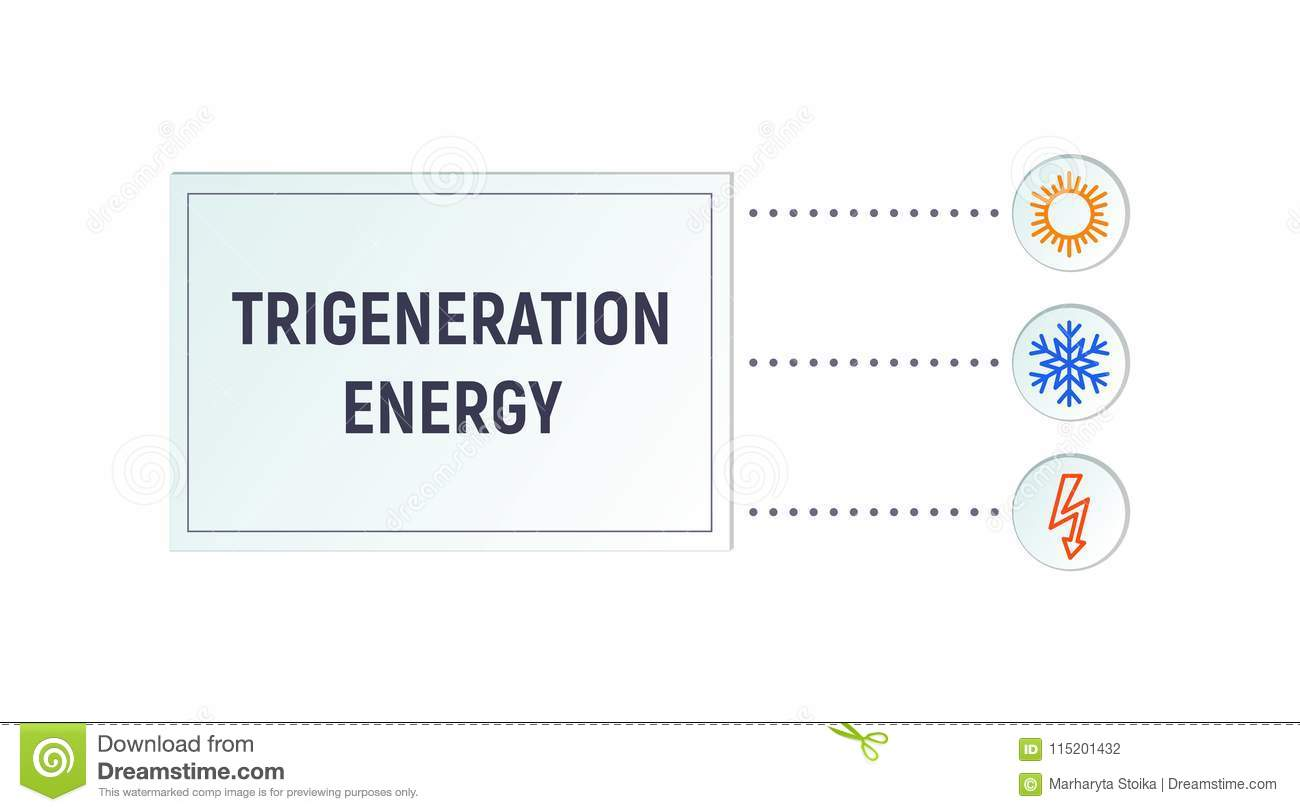 Infographics Trigeneration Stock Vector Illustration Of Combined Electricity Diagram Generation Heat And Chilled Water