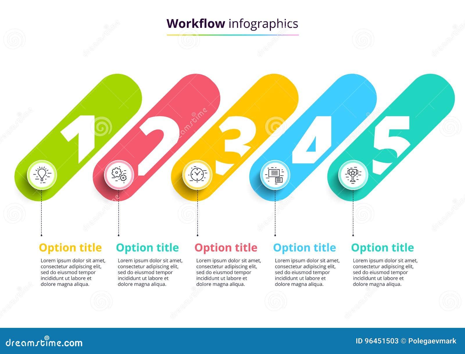 Infographics van de bedrijfsprocesgrafiek met 4 stapcirkels Circula
