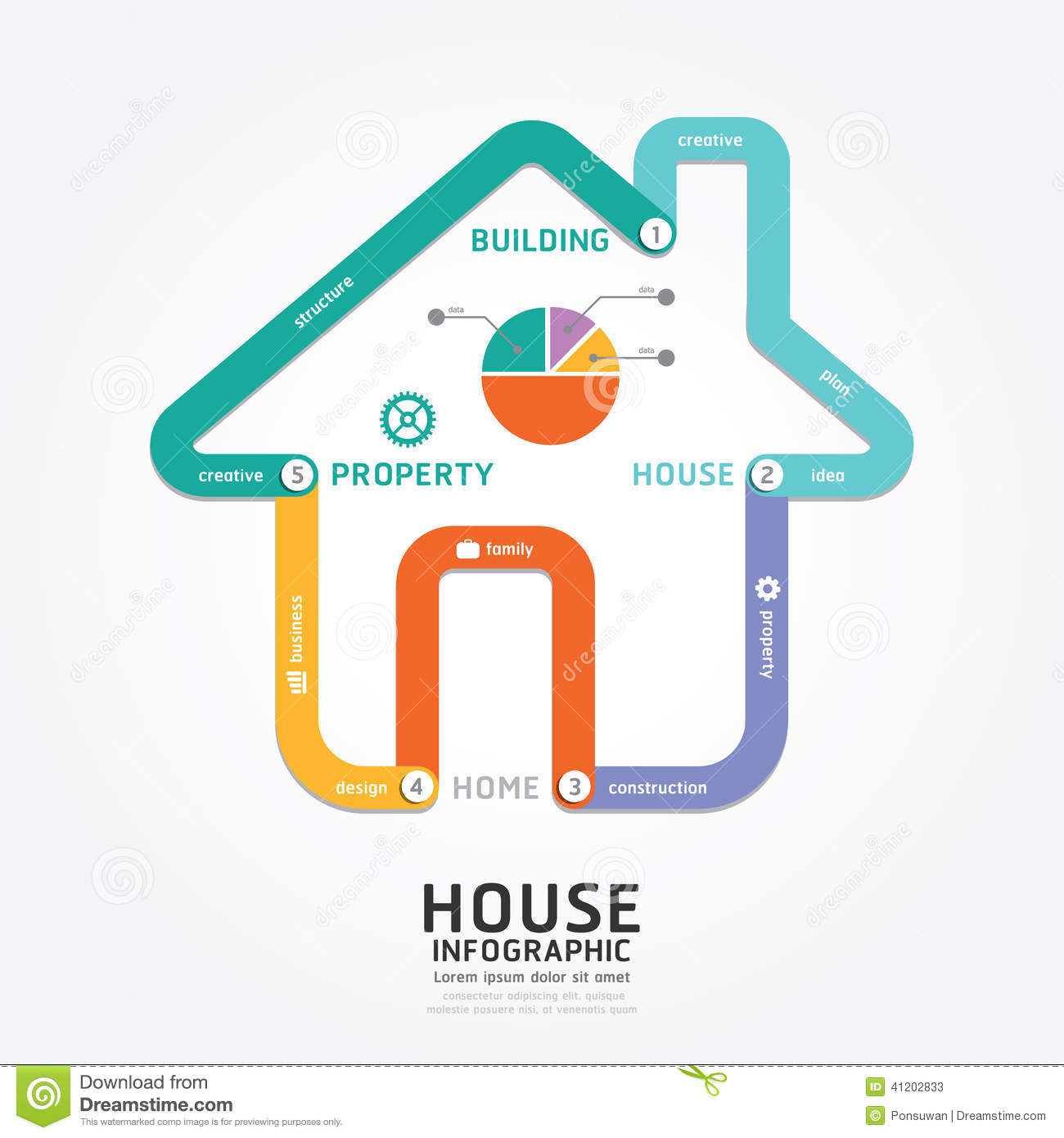 Infographics vector building house design diagram line for Building a house timeline