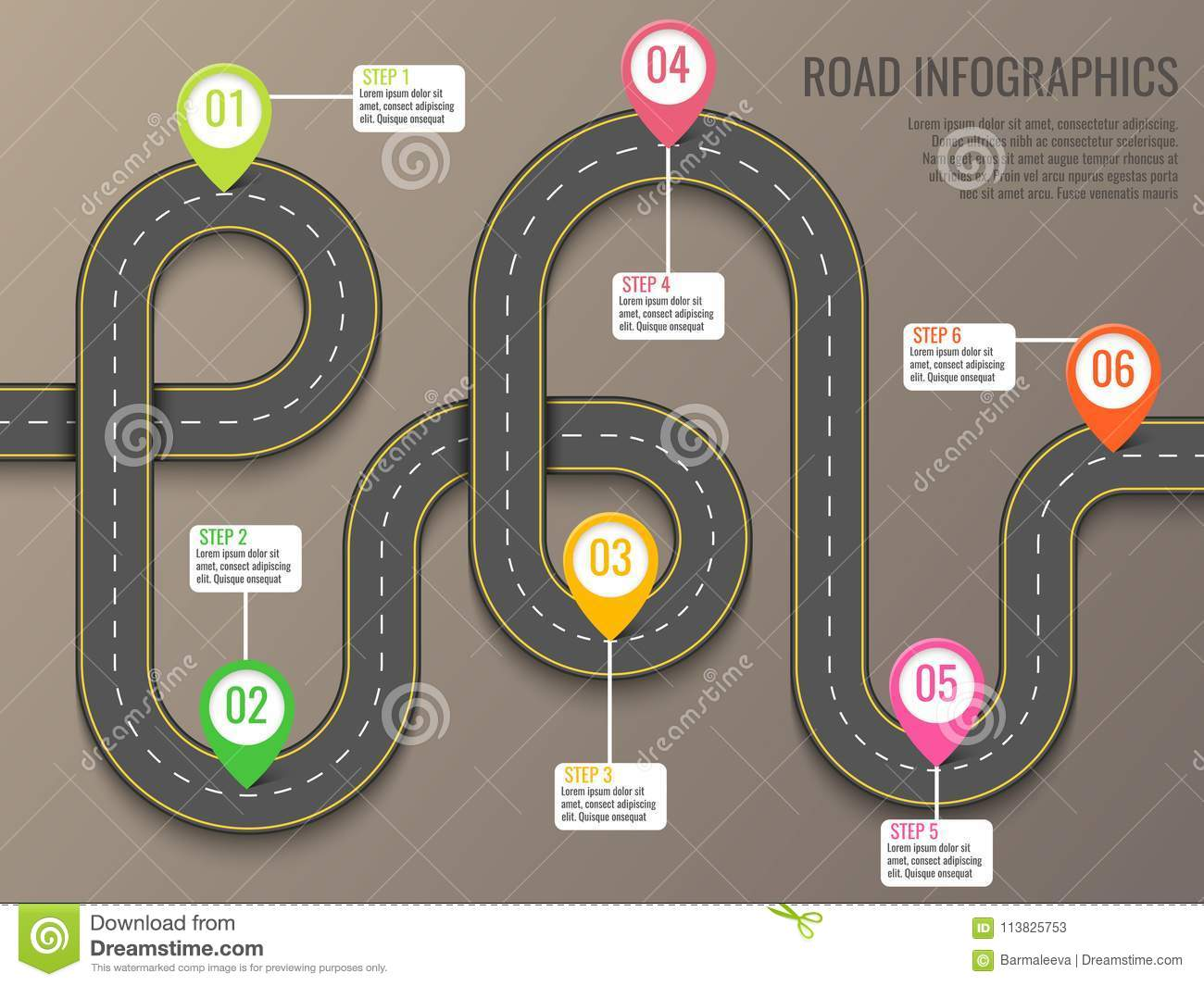 Infographics template with road map using pointers. Top view vector elements. Road trip. Business and journey
