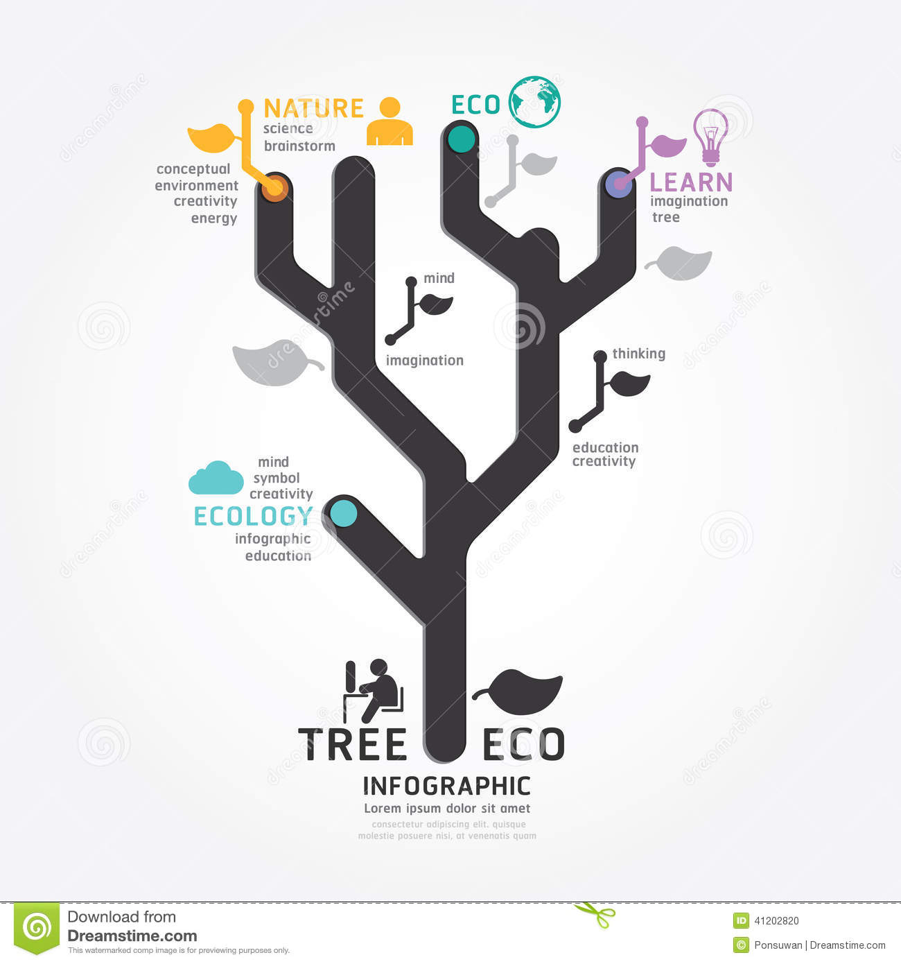 Infographics Vector Tree Design Diagram Line Style Stock Vector ...