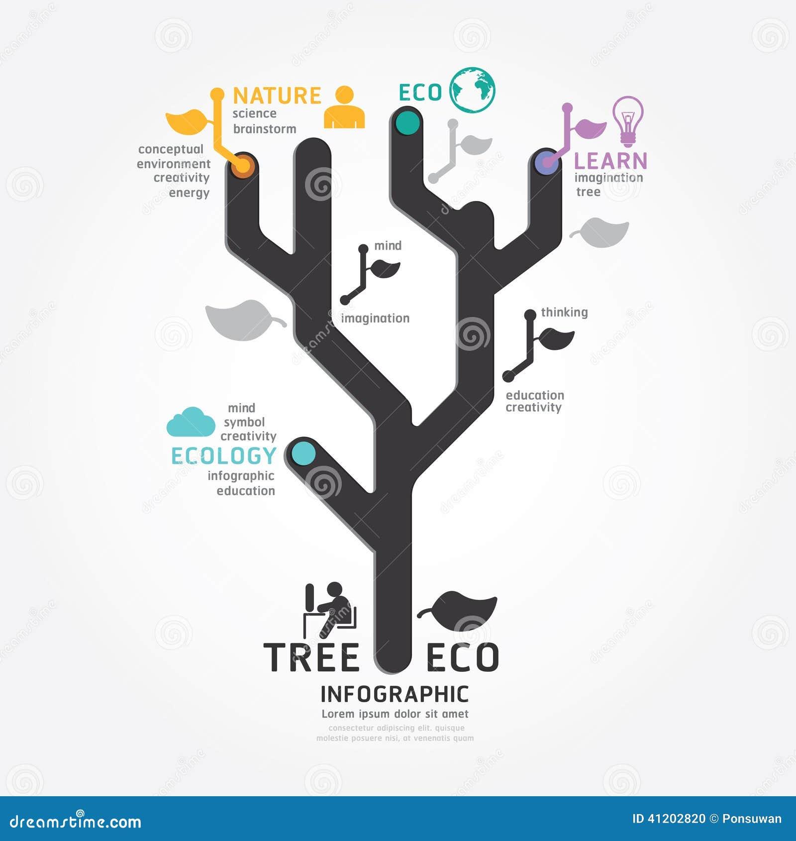 Infographics vector tree design diagram line style