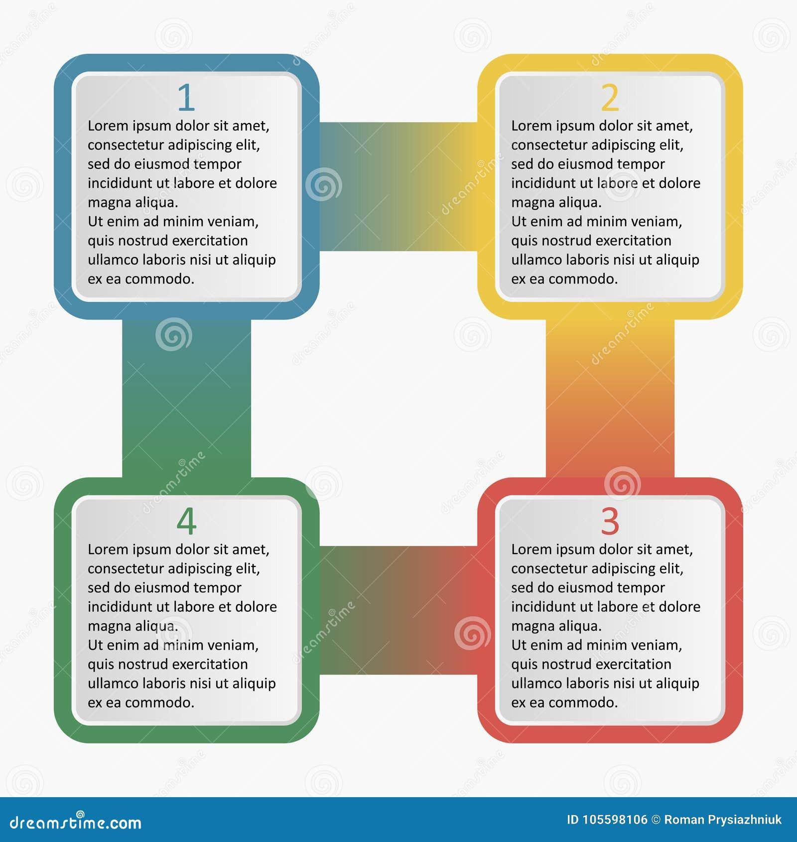 Infographics z zaokrąglonymi kwadratami Biznesowy szablon z opcjami, częściami, krokami lub procesami 4, również zwrócić corel il