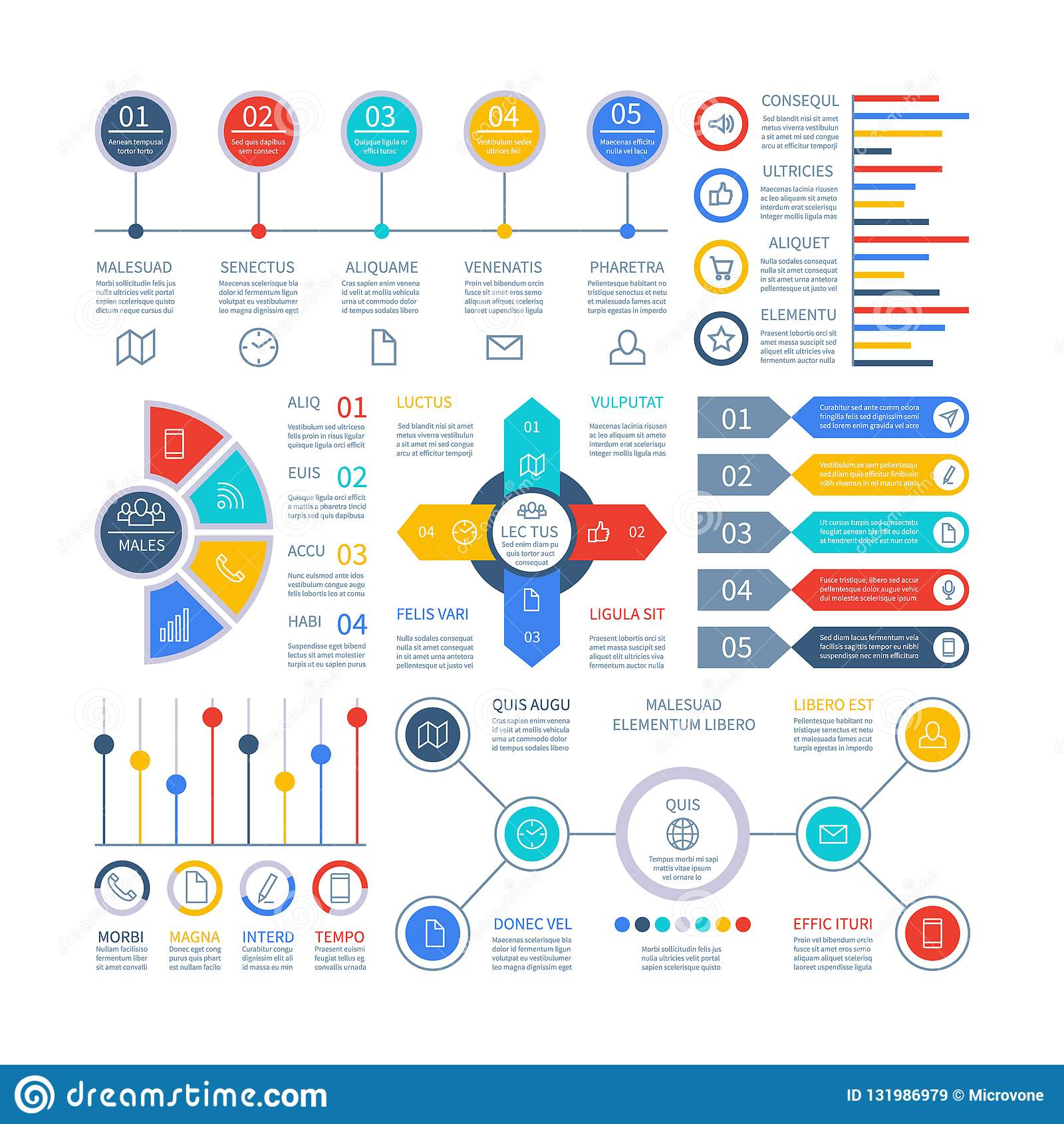 Infographicsdiagrammen Infochartelementen, marketing grafiek en grafieken, staafdiagram Optie planningsgrafiek, strategie