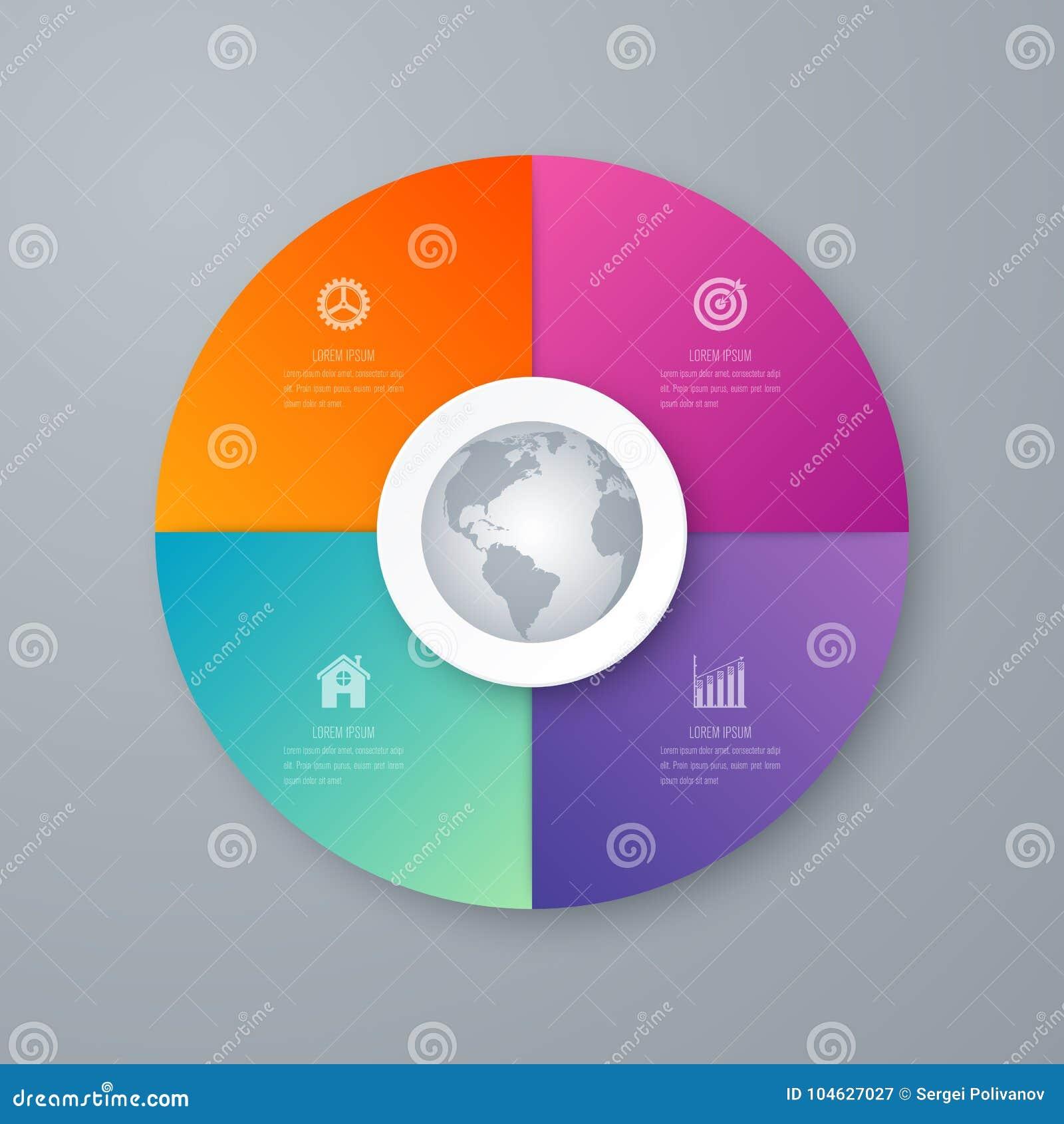 Download Infographicsmalplaatje 4 Opties Met Cirkel Vector Illustratie - Illustratie bestaande uit verbonden, informatie: 104627027