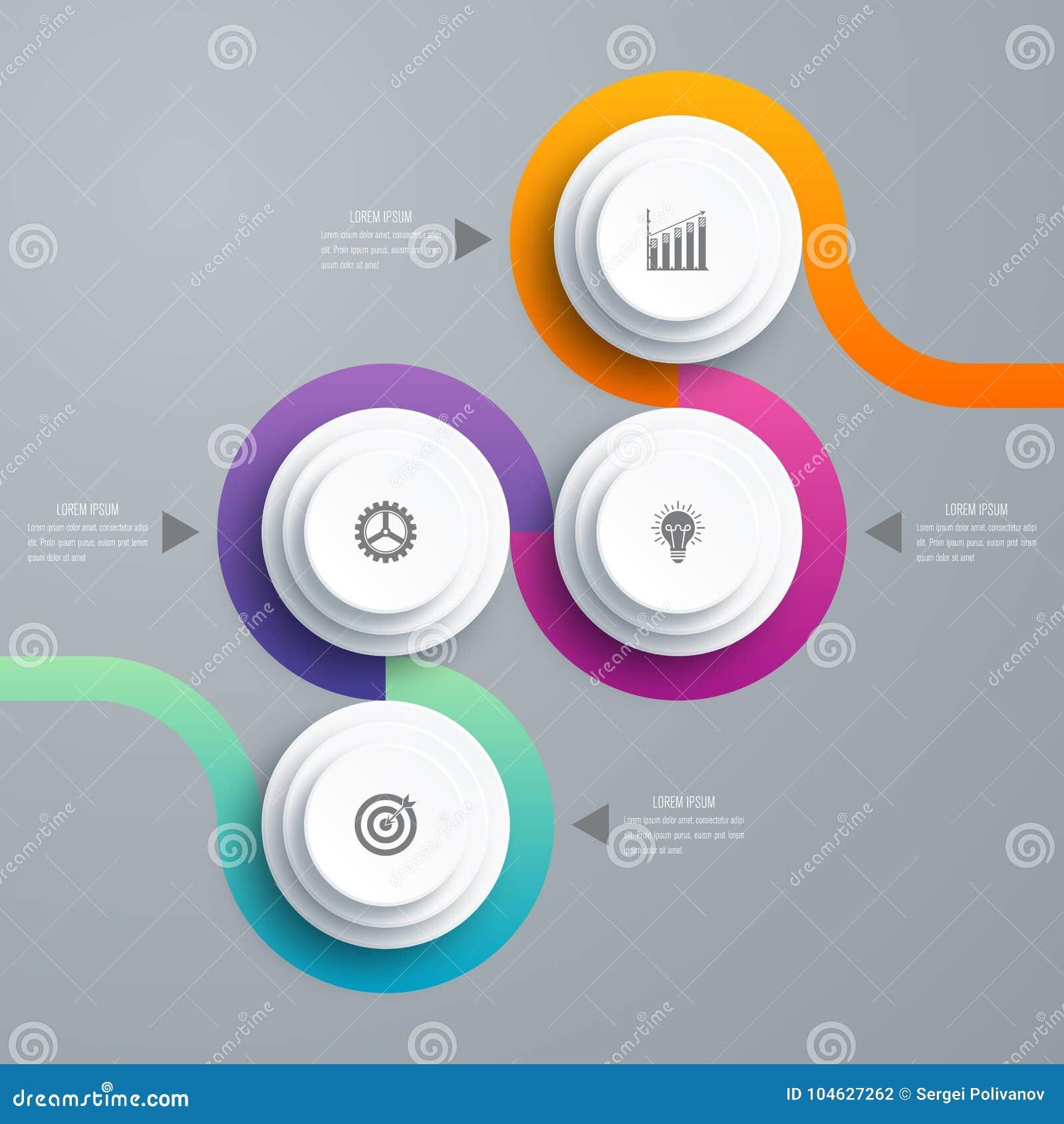 Download Infographicsmalplaatje 4 Opties Met Cirkel Vector Illustratie - Illustratie bestaande uit vlak, lay: 104627262
