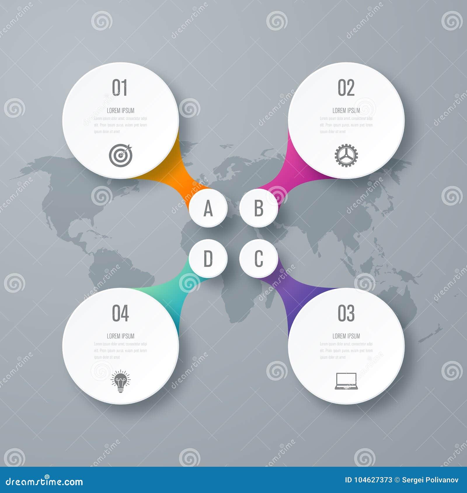 Download Infographicsmalplaatje 4 Opties Met Cirkel Vector Illustratie - Illustratie bestaande uit pictogram, grafiek: 104627373