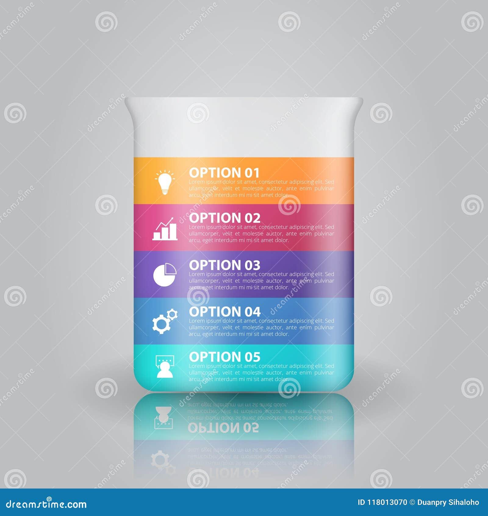 Infographicsmalplaatje van het laboratoriumglaswerk voor zaken, onderwijs, Webontwerp, banners, brochures, vliegers