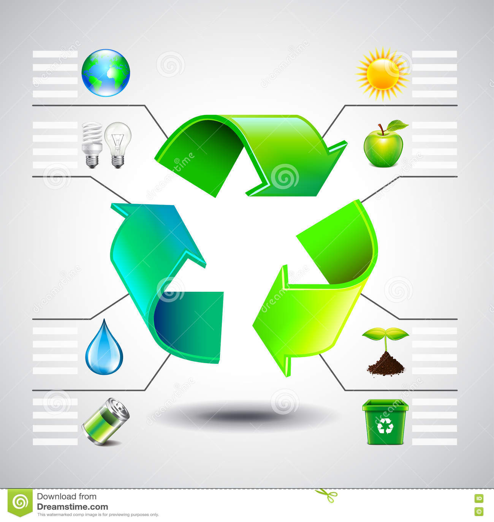 Inforgaphics del ambiente El verde recicla iconos del símbolo y de la ecología