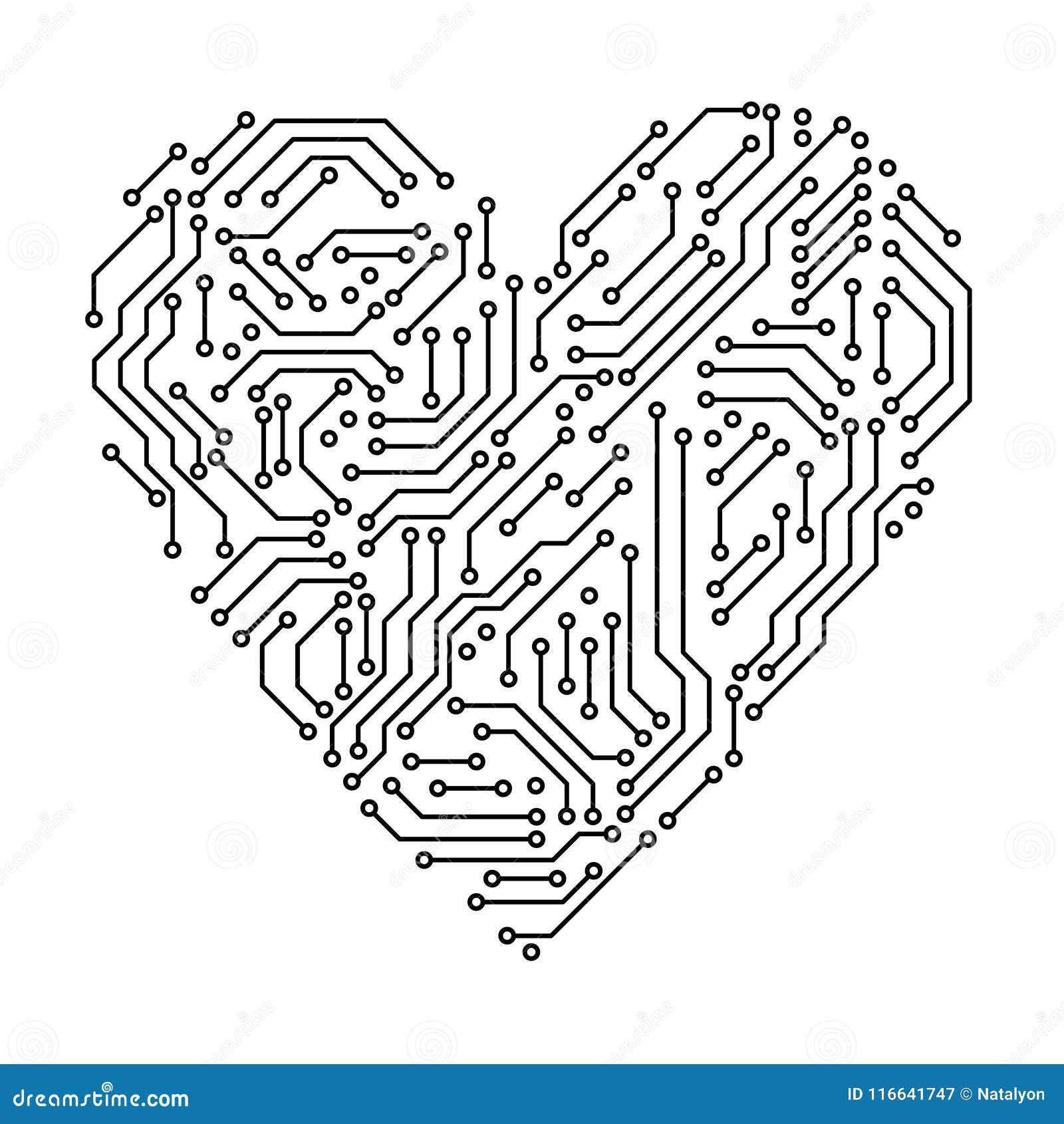 Informática preto e branco da forma do coração da placa de circuito impresso, vetor