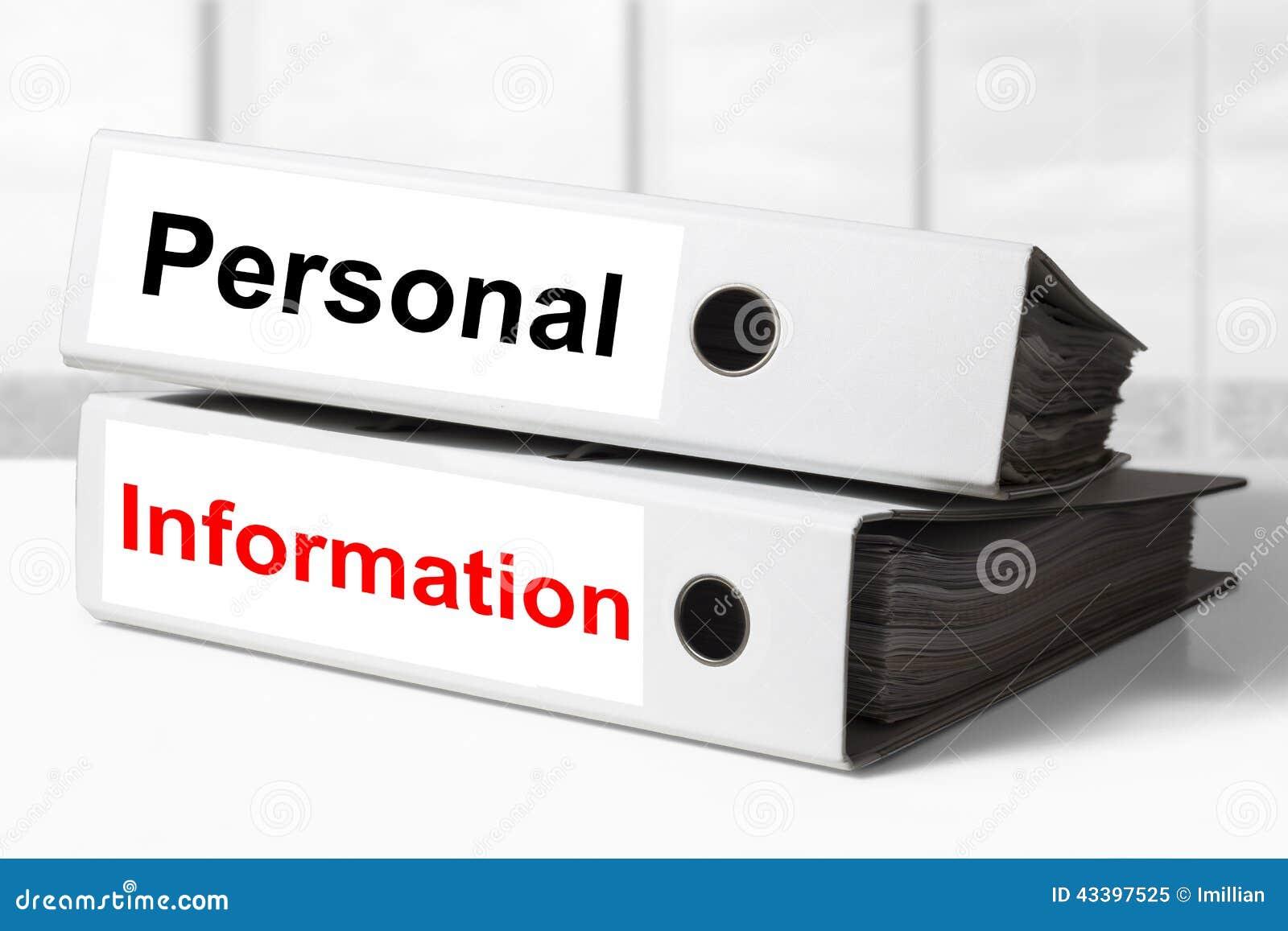 Información Personal De Las Carpetas De La Oficina Foto de archivo ...