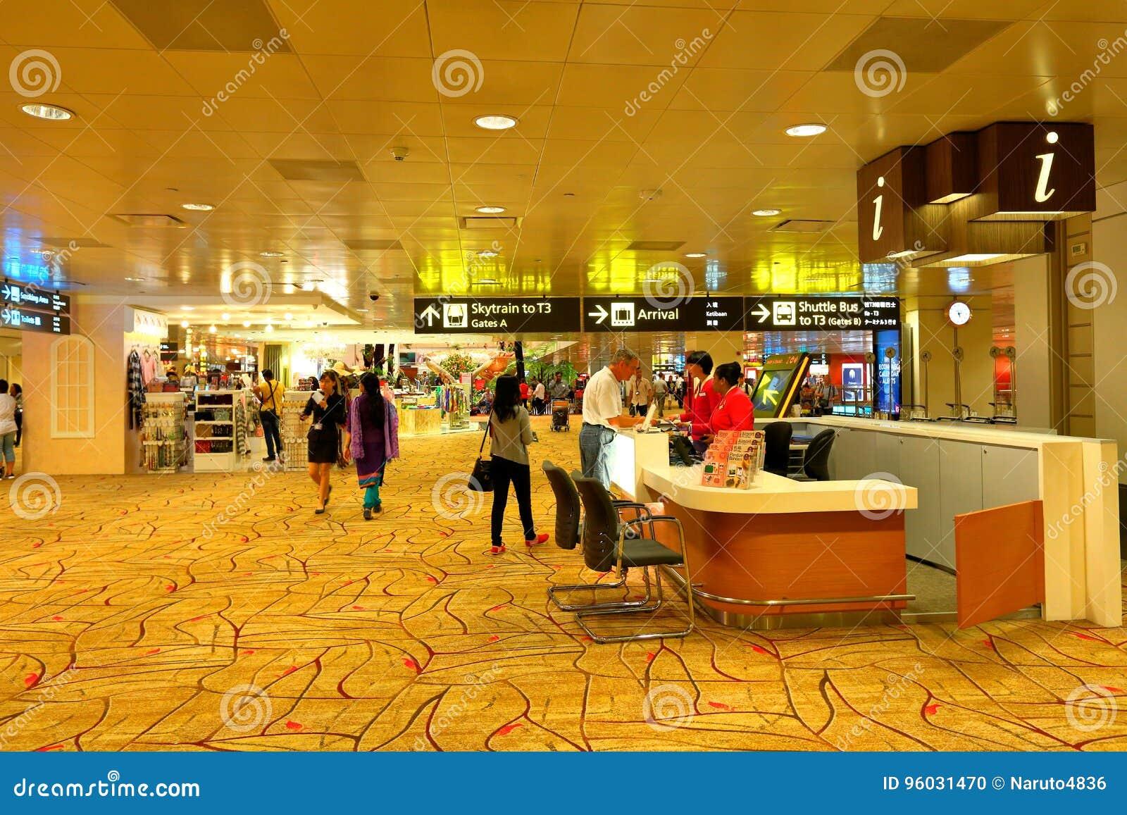 Informacja odpierająca przy Changi lotniskiem Singapur