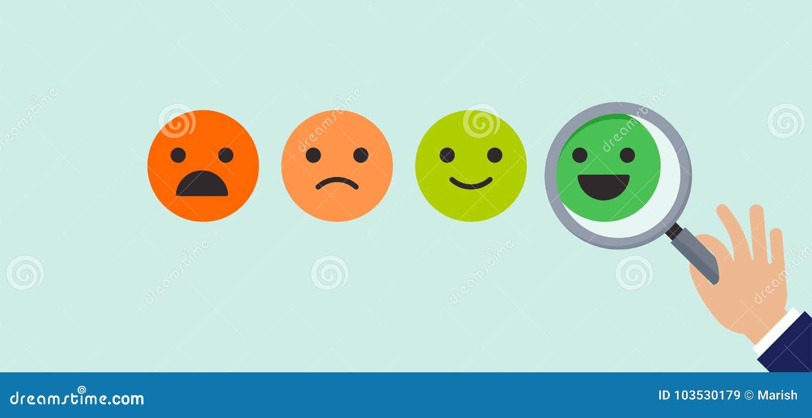 Informacje zwrotne pojęcia projekt, emoticon, emoji i uśmiech, emoticons skala
