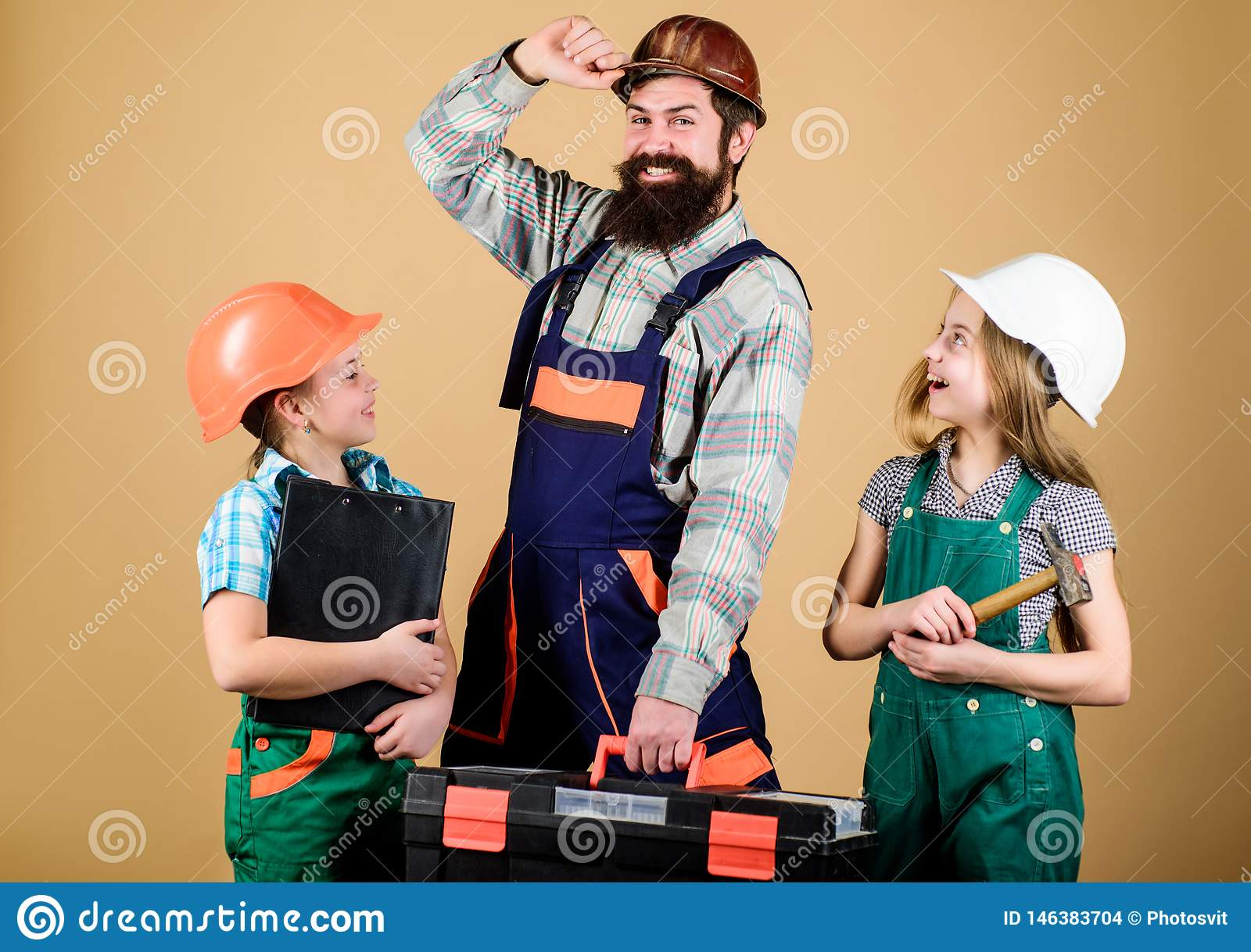 Informal education. Fathers day. Sisters help father builder. Home renovation. Create room you really want live. Follow