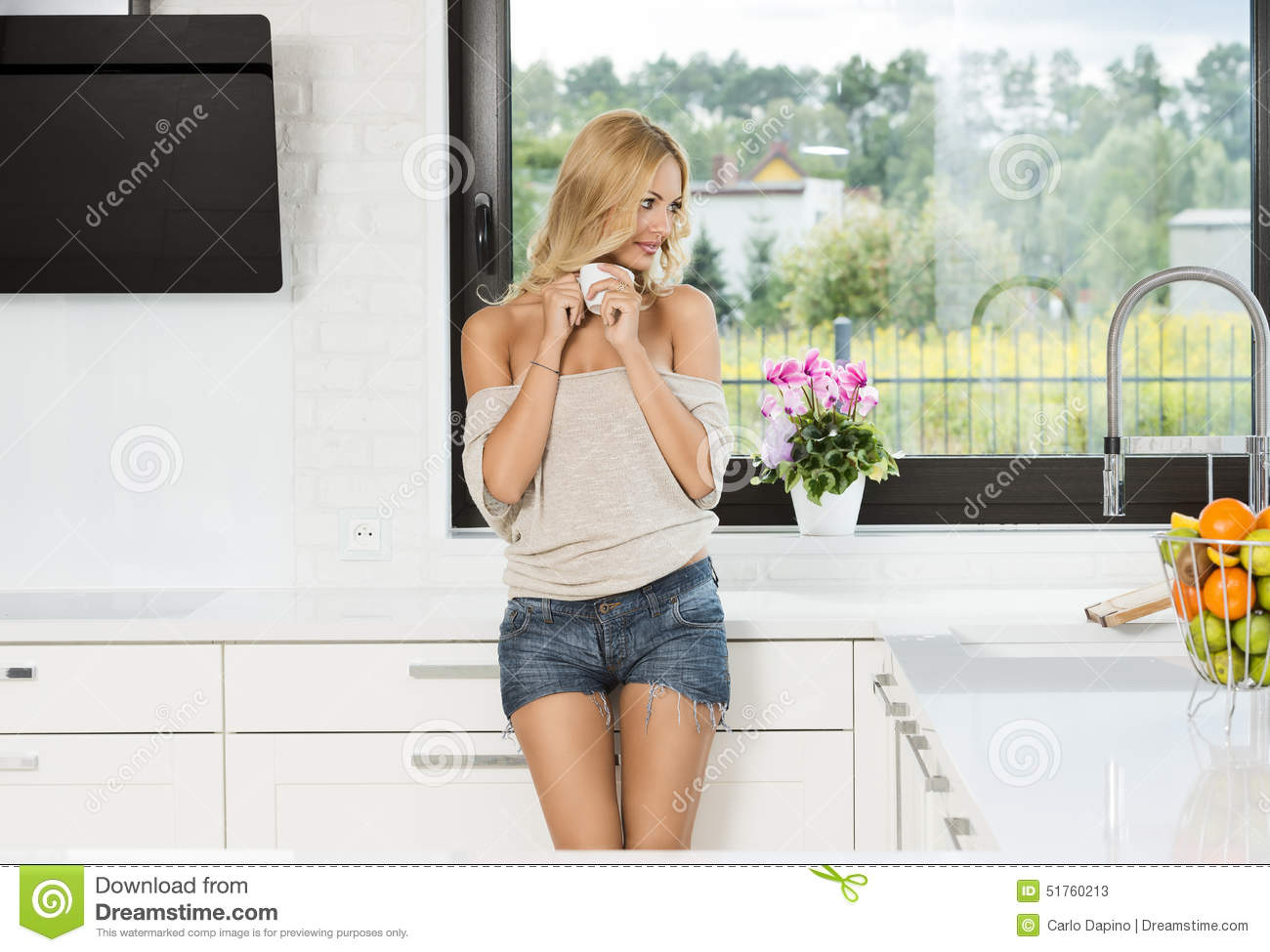 Informal Girl , Drinking Coffee In Kitchen Stock Image - Image of ...
