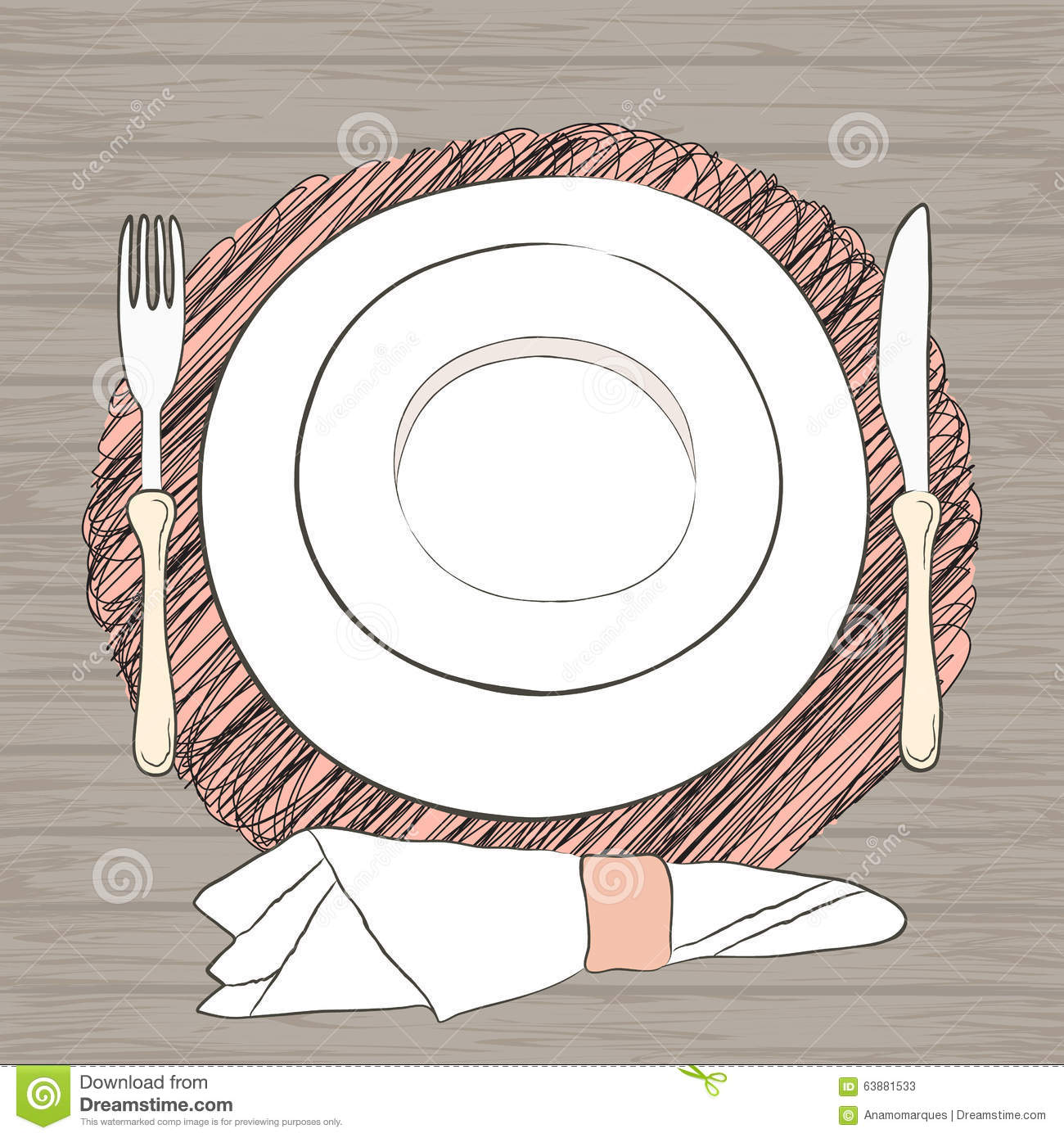 Informal vector table setting tableware and eating for Table utensils