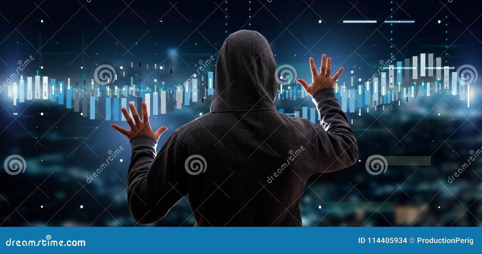 Informati de troca de ativação dos dados da bolsa de valores do negócio do hacker